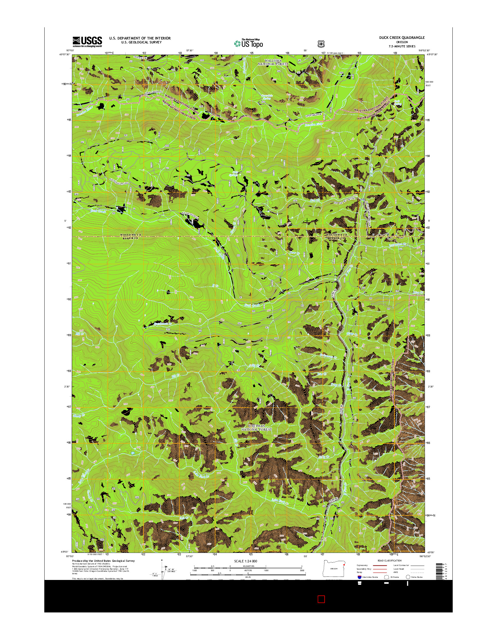 USGS US TOPO 7.5-MINUTE MAP FOR DUCK CREEK, OR 2014
