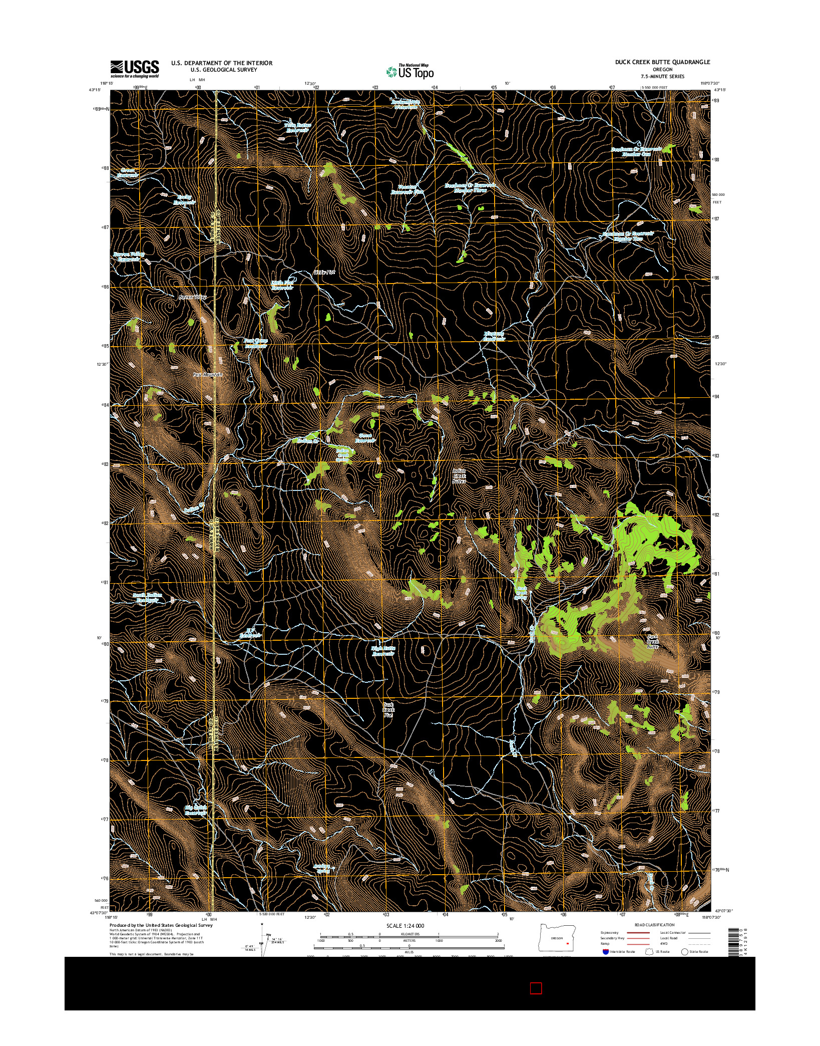 USGS US TOPO 7.5-MINUTE MAP FOR DUCK CREEK BUTTE, OR 2014
