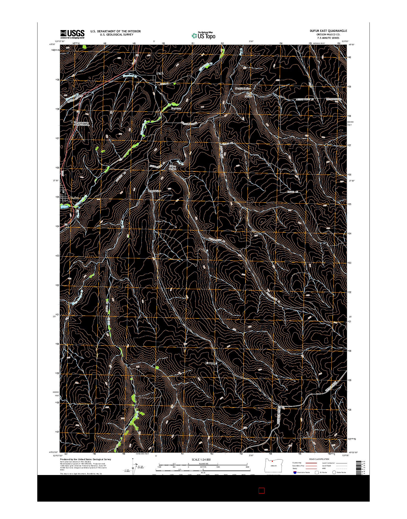 USGS US TOPO 7.5-MINUTE MAP FOR DUFUR EAST, OR 2014