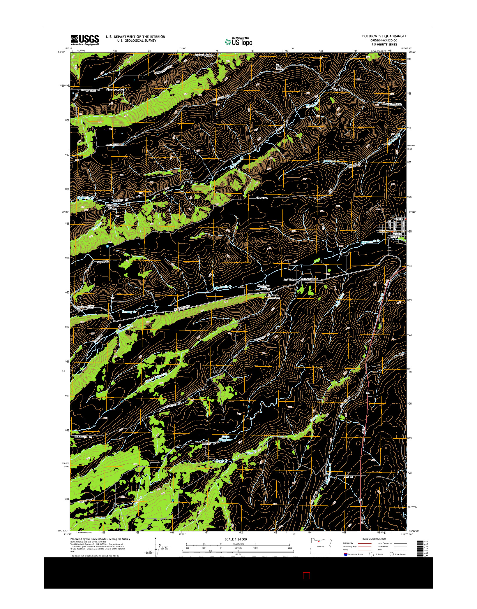 USGS US TOPO 7.5-MINUTE MAP FOR DUFUR WEST, OR 2014