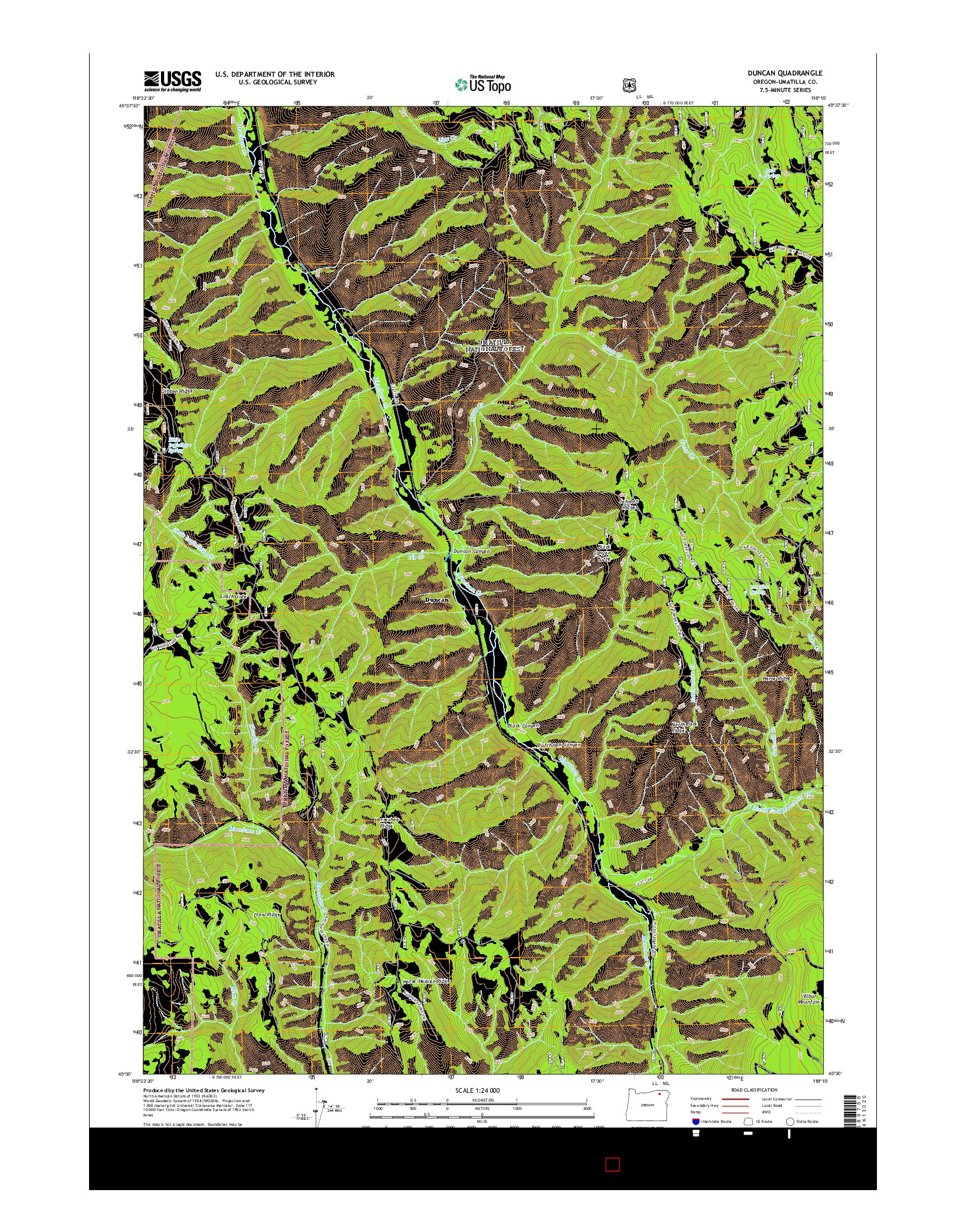 USGS US TOPO 7.5-MINUTE MAP FOR DUNCAN, OR 2014