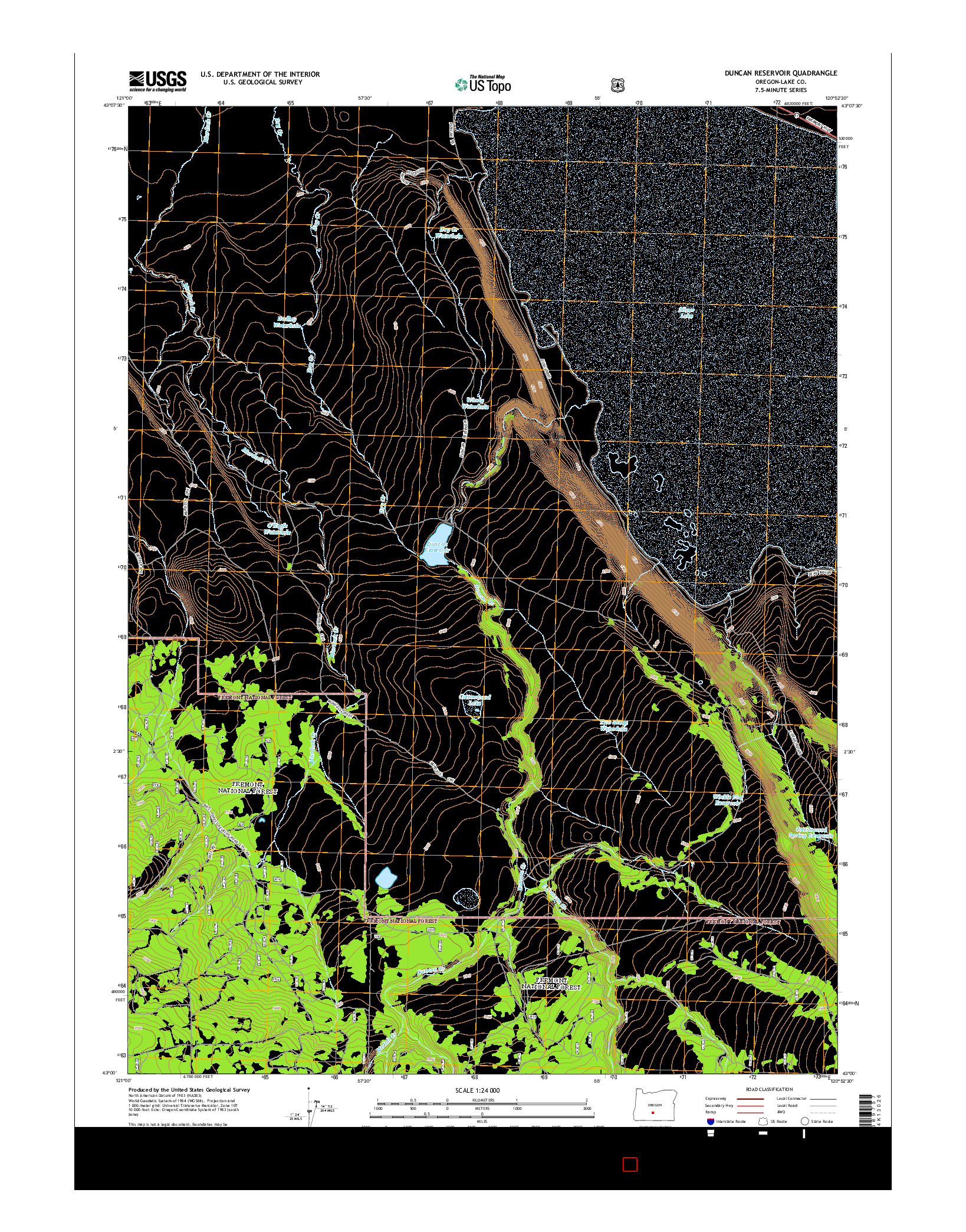 USGS US TOPO 7.5-MINUTE MAP FOR DUNCAN RESERVOIR, OR 2014