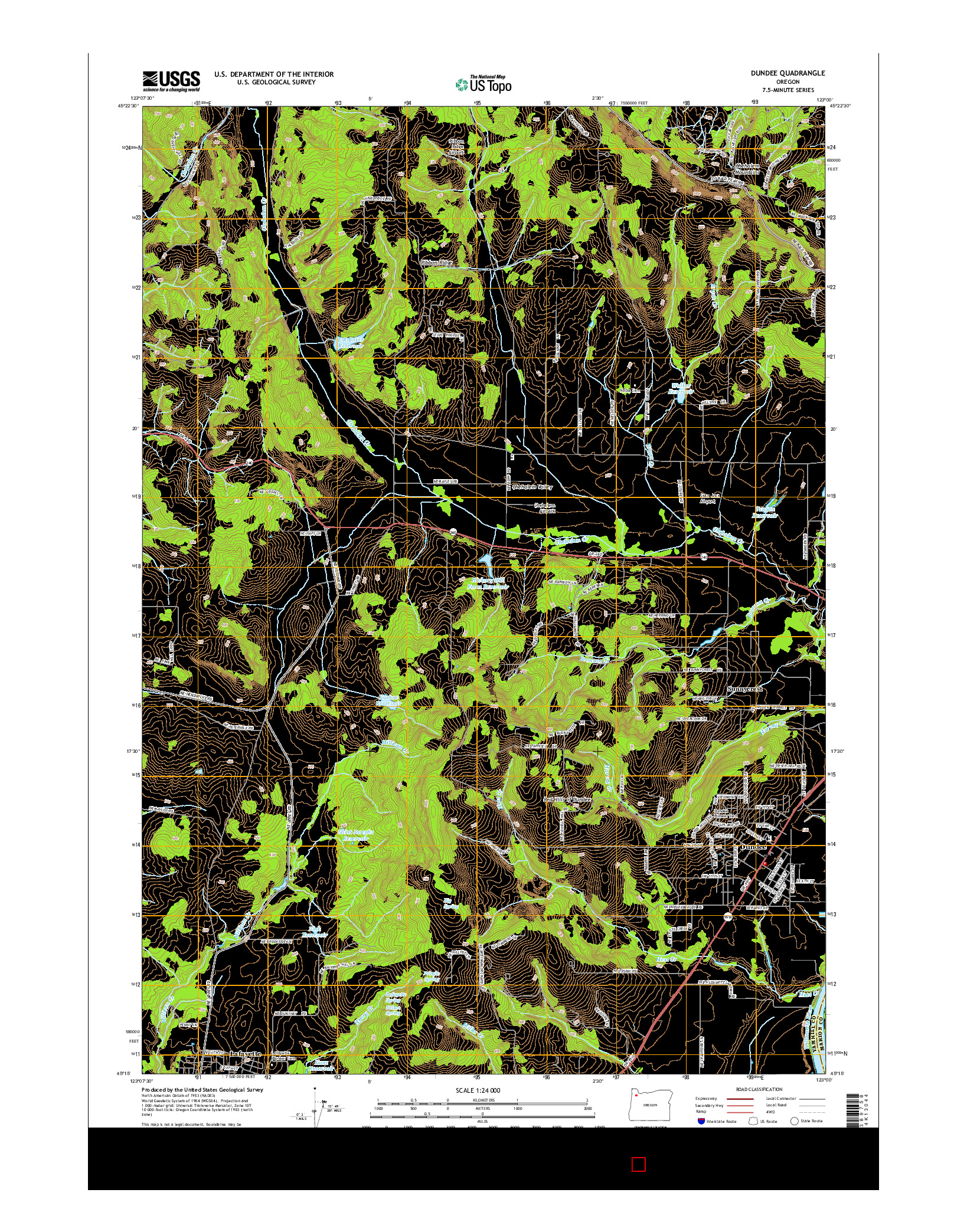 USGS US TOPO 7.5-MINUTE MAP FOR DUNDEE, OR 2014