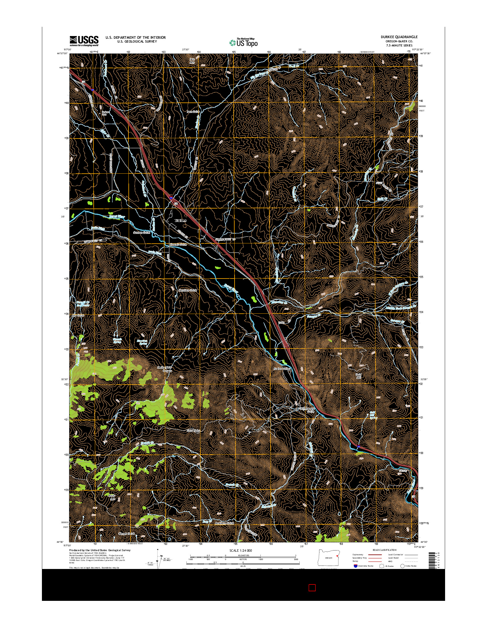 USGS US TOPO 7.5-MINUTE MAP FOR DURKEE, OR 2014