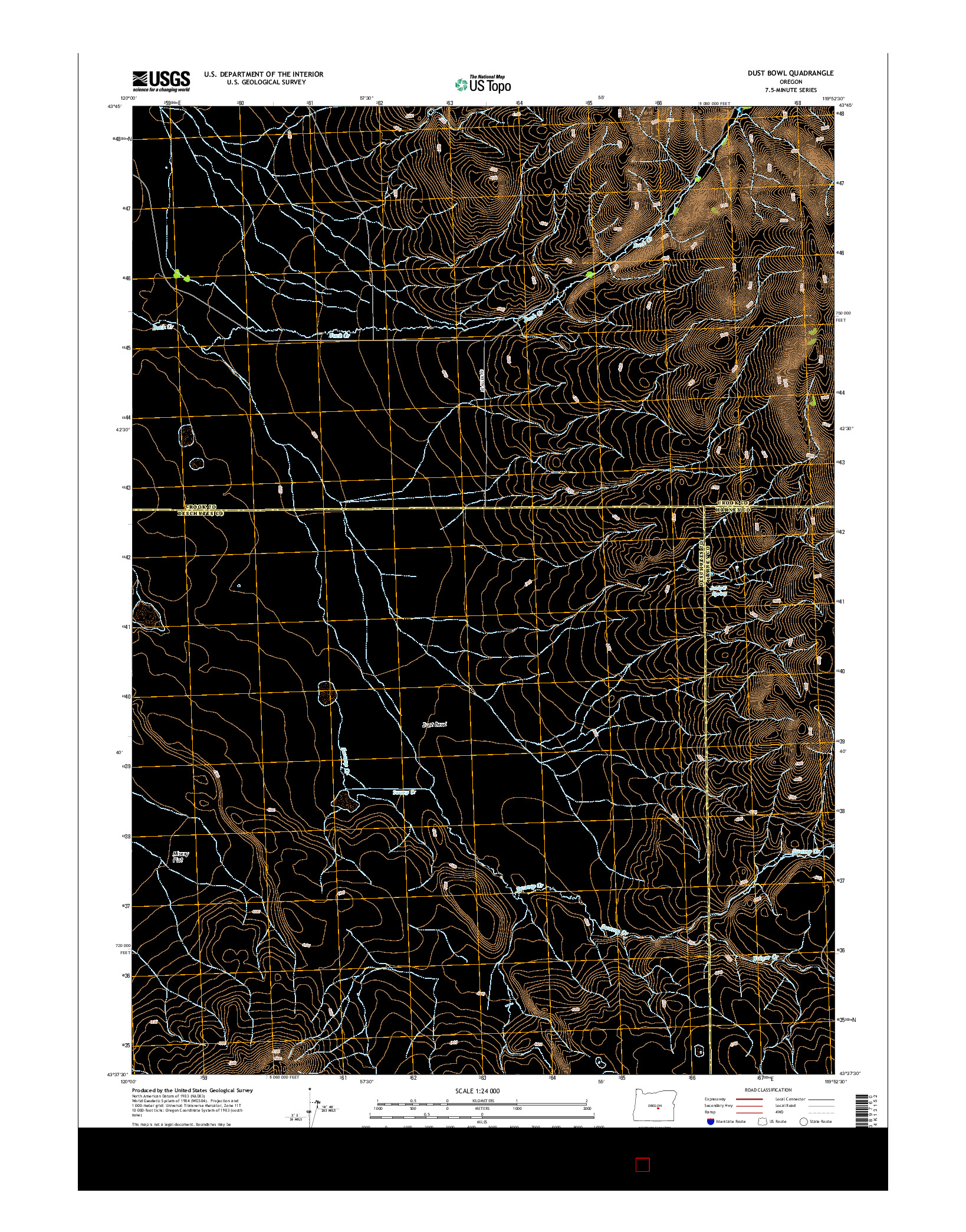 USGS US TOPO 7.5-MINUTE MAP FOR DUST BOWL, OR 2014