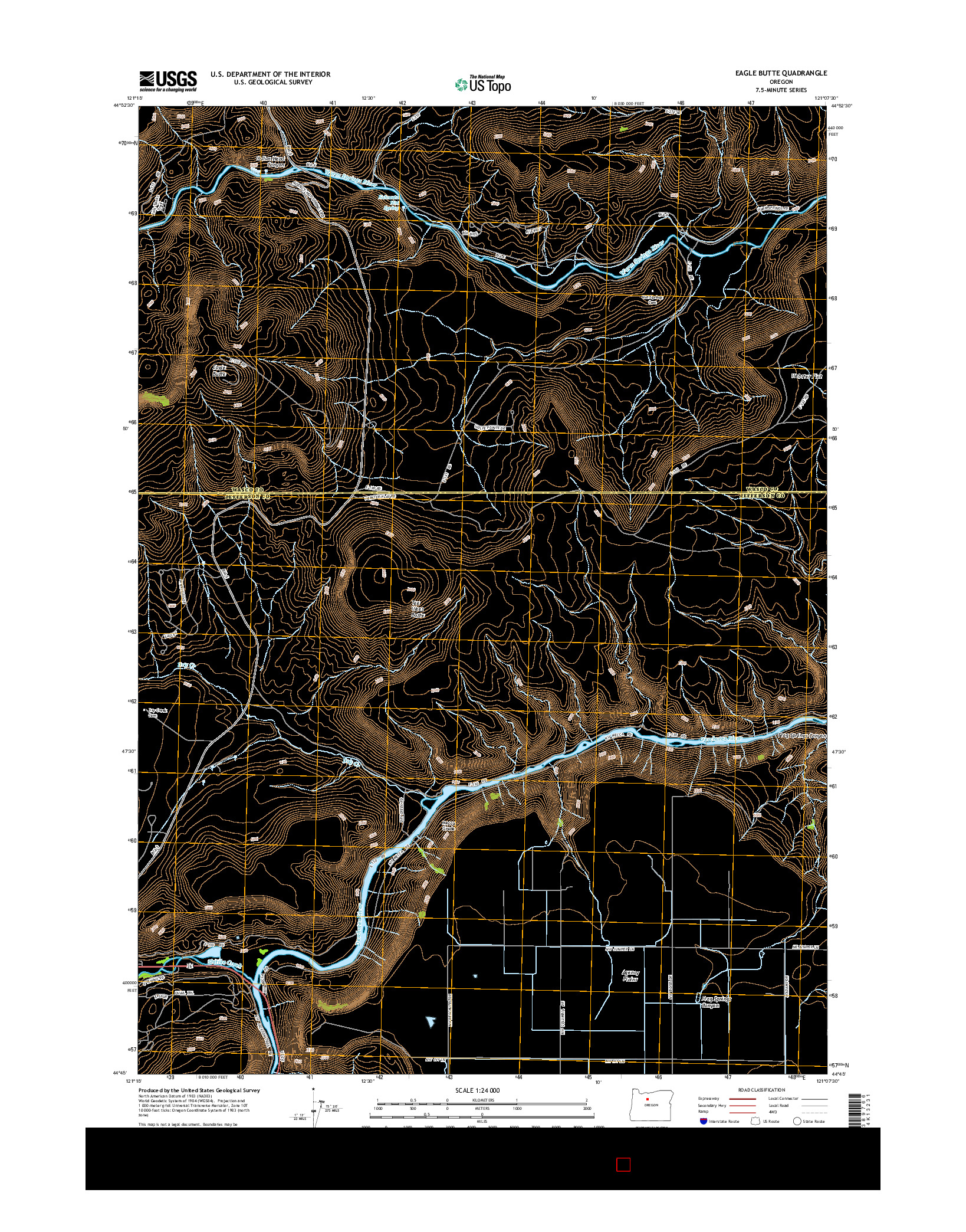 USGS US TOPO 7.5-MINUTE MAP FOR EAGLE BUTTE, OR 2014