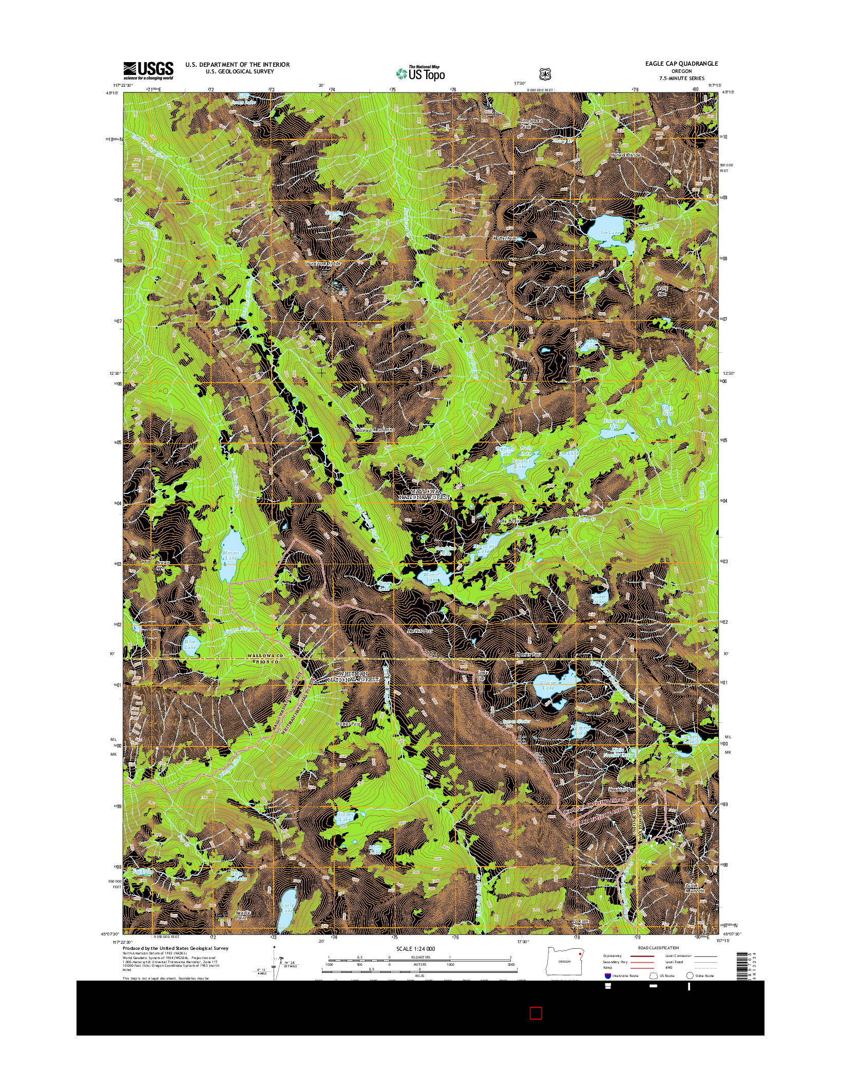 USGS US TOPO 7.5-MINUTE MAP FOR EAGLE CAP, OR 2014