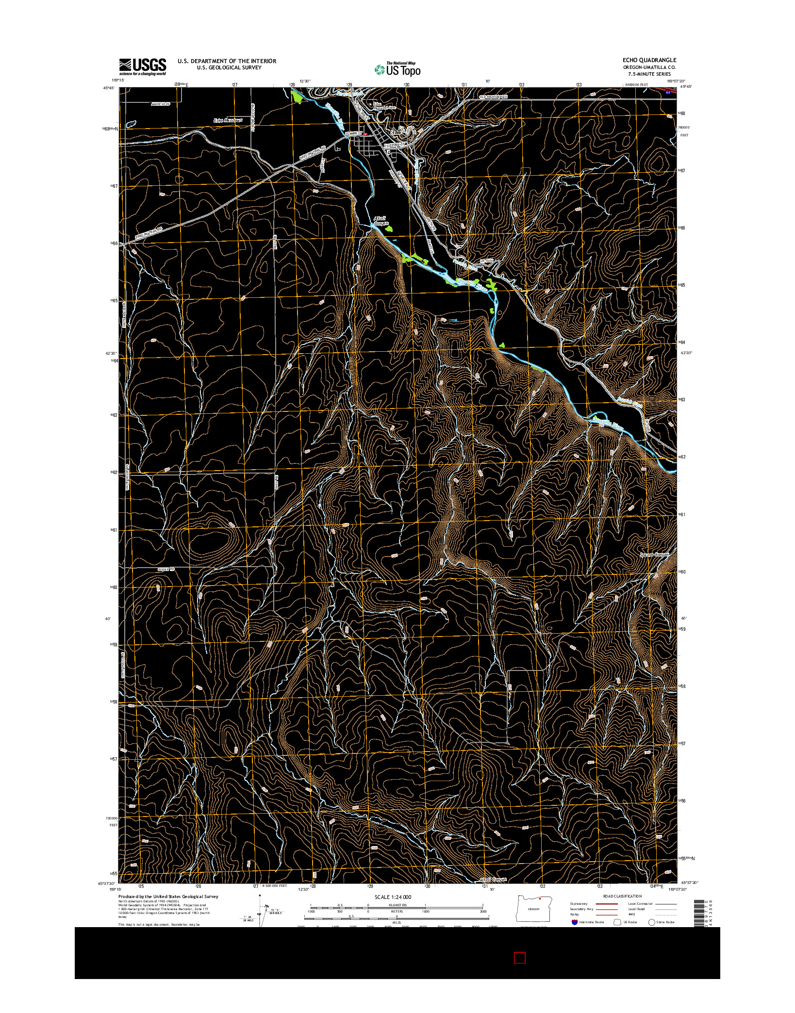 USGS US TOPO 7.5-MINUTE MAP FOR ECHO, OR 2014