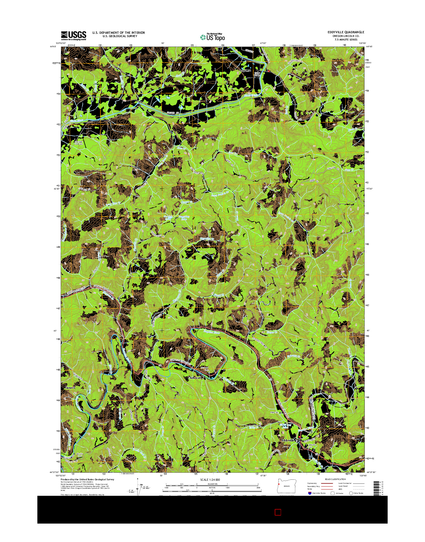 USGS US TOPO 7.5-MINUTE MAP FOR EDDYVILLE, OR 2014