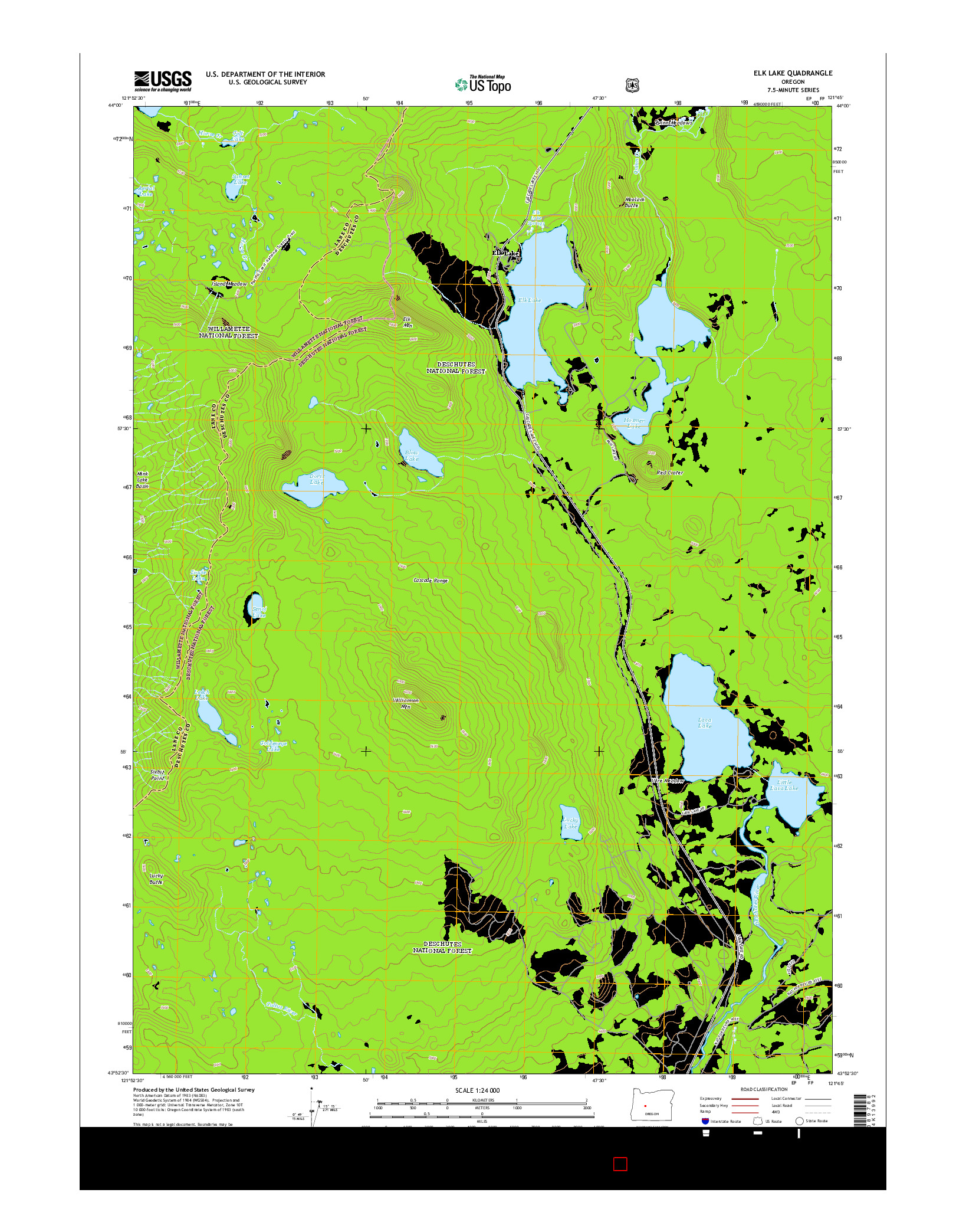 USGS US TOPO 7.5-MINUTE MAP FOR ELK LAKE, OR 2014