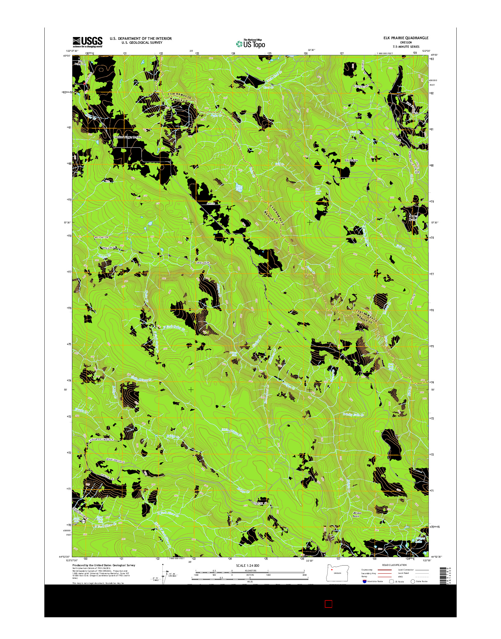 USGS US TOPO 7.5-MINUTE MAP FOR ELK PRAIRIE, OR 2014