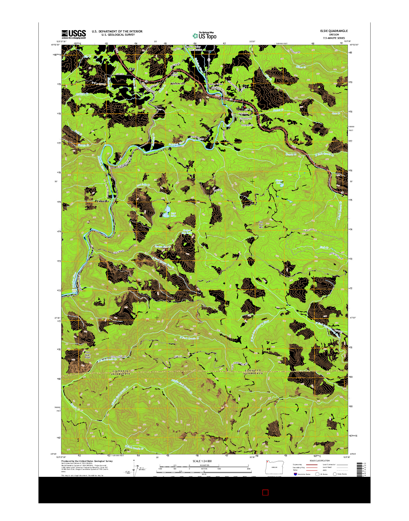 USGS US TOPO 7.5-MINUTE MAP FOR ELSIE, OR 2014