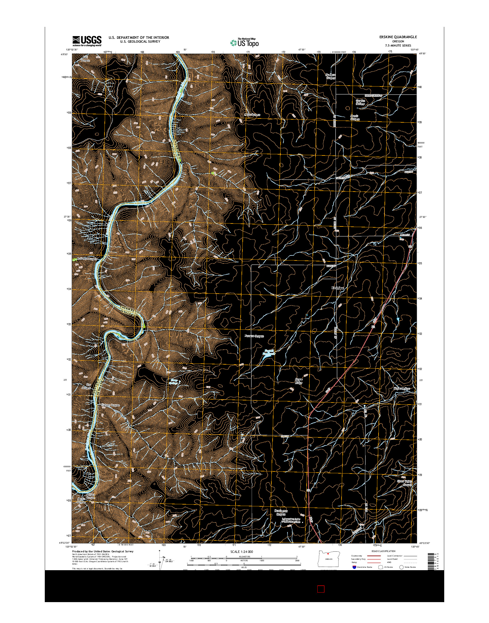 USGS US TOPO 7.5-MINUTE MAP FOR ERSKINE, OR 2014