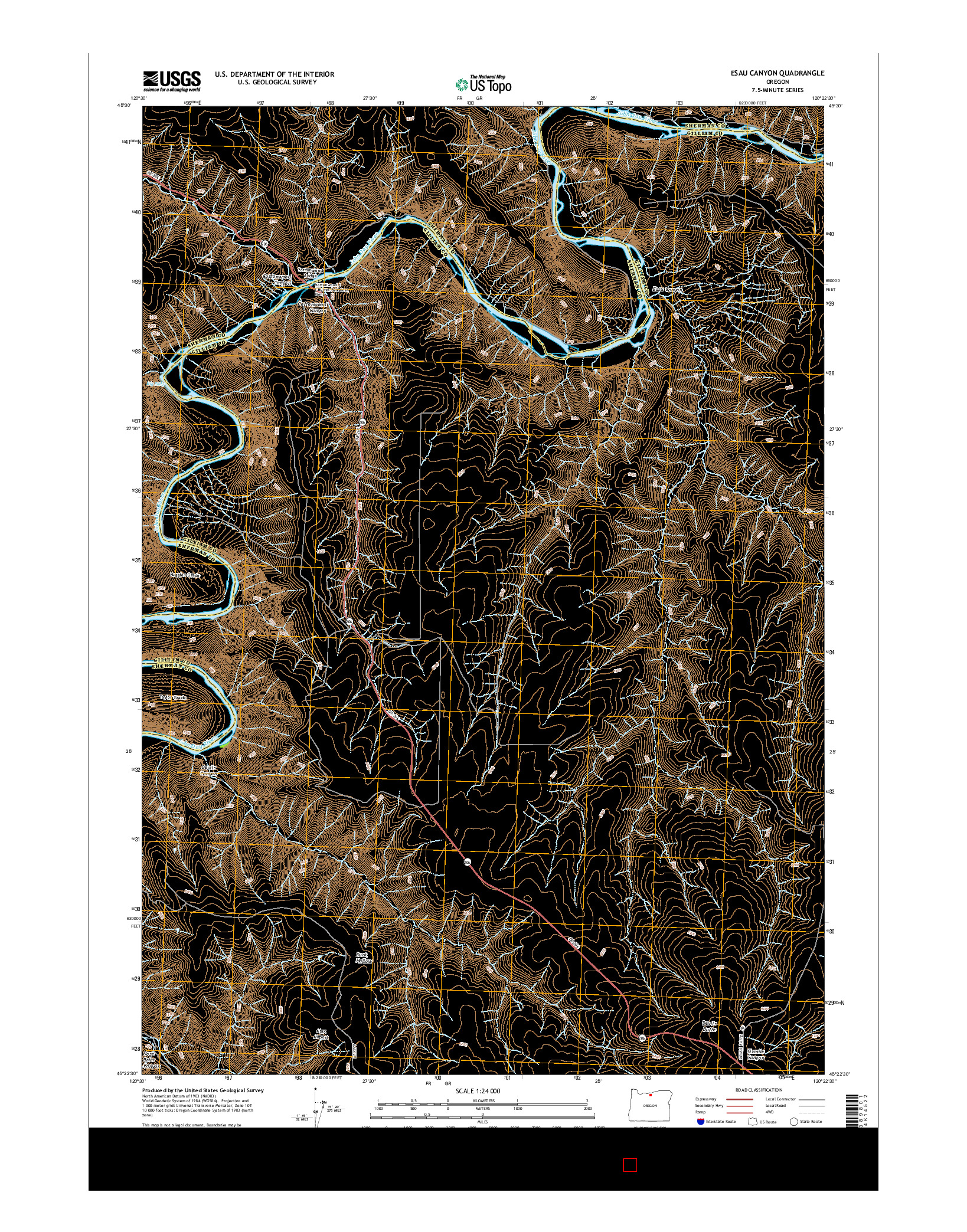 USGS US TOPO 7.5-MINUTE MAP FOR ESAU CANYON, OR 2014