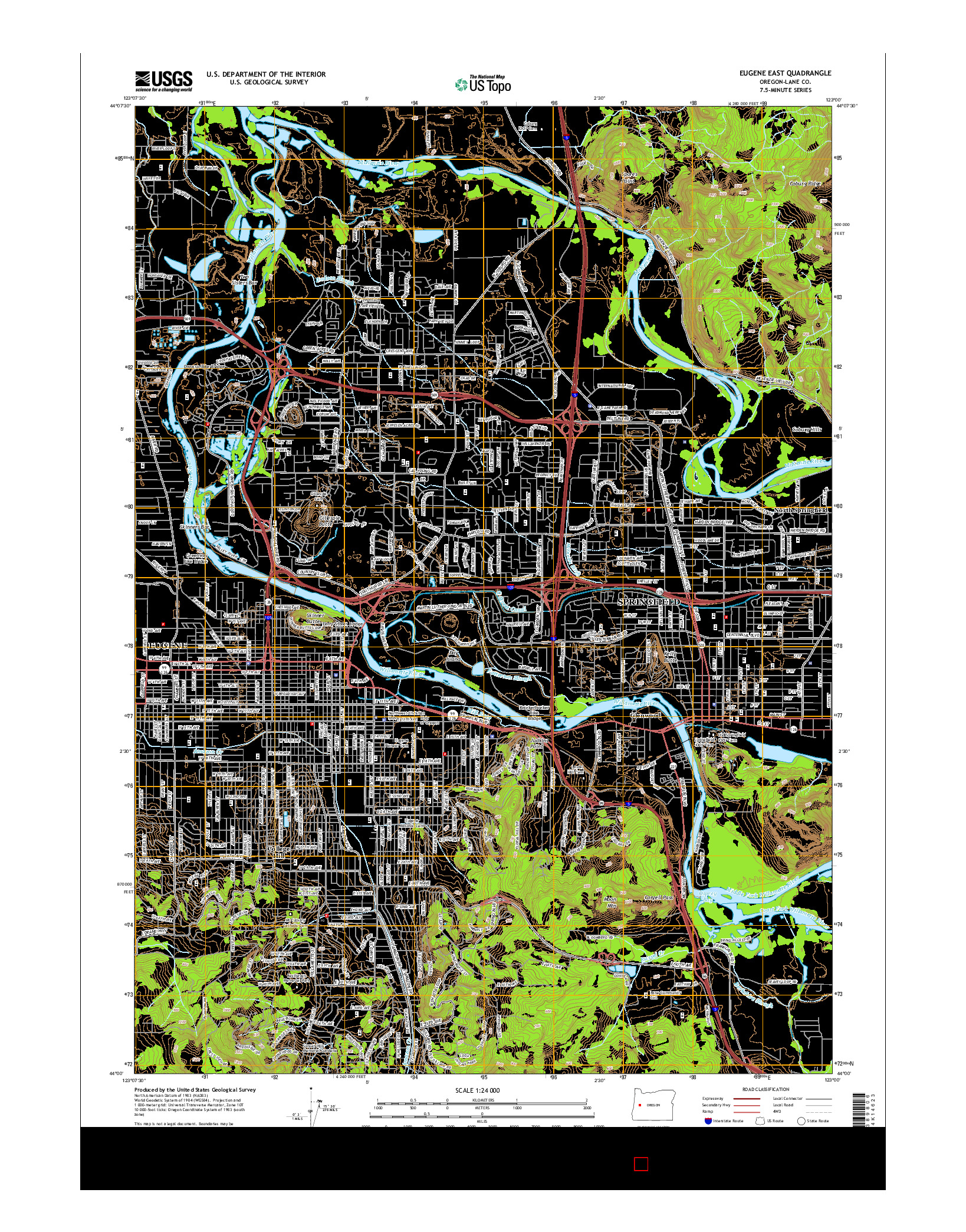 USGS US TOPO 7.5-MINUTE MAP FOR EUGENE EAST, OR 2014