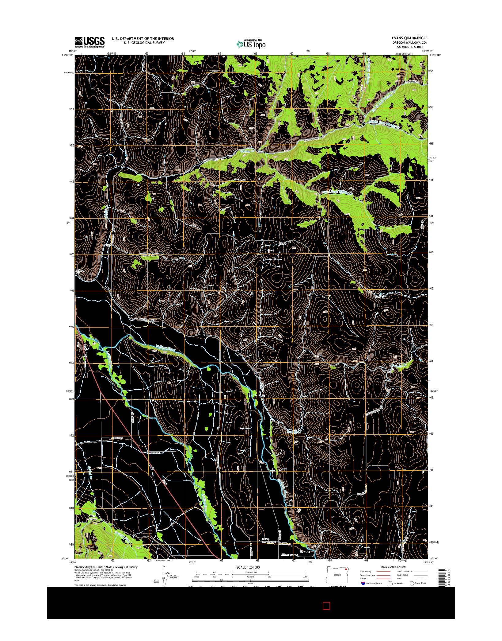 USGS US TOPO 7.5-MINUTE MAP FOR EVANS, OR 2014