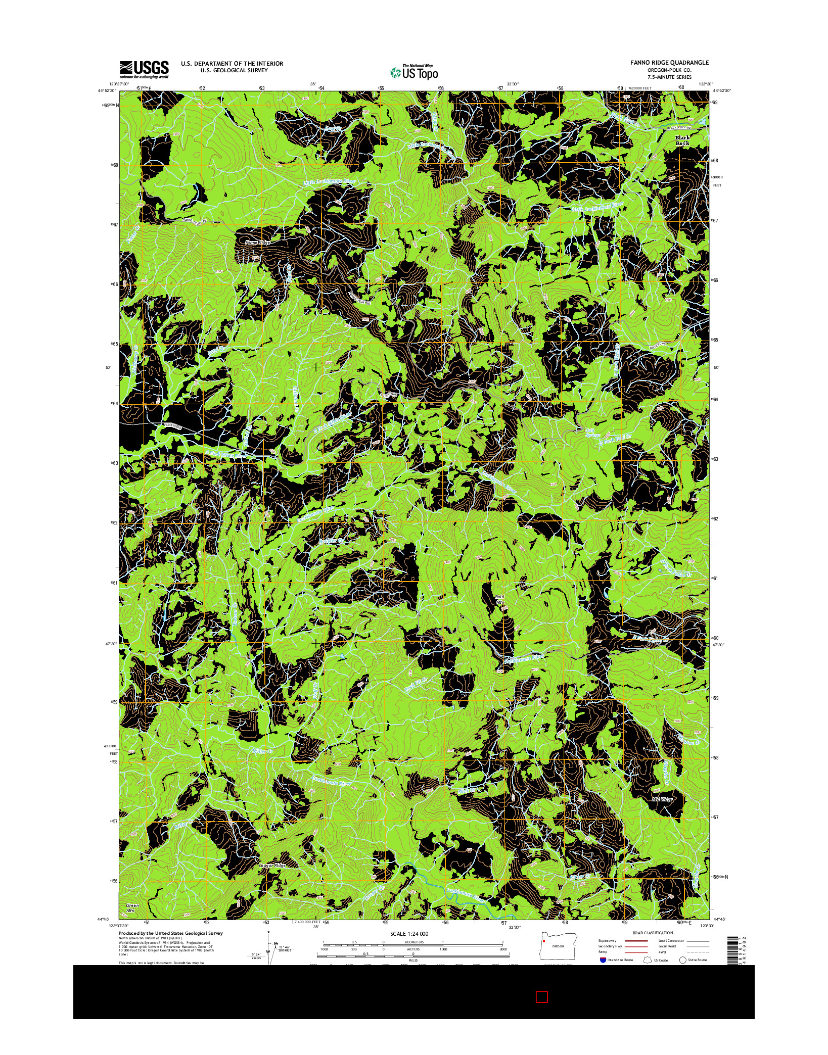 USGS US TOPO 7.5-MINUTE MAP FOR FANNO RIDGE, OR 2014