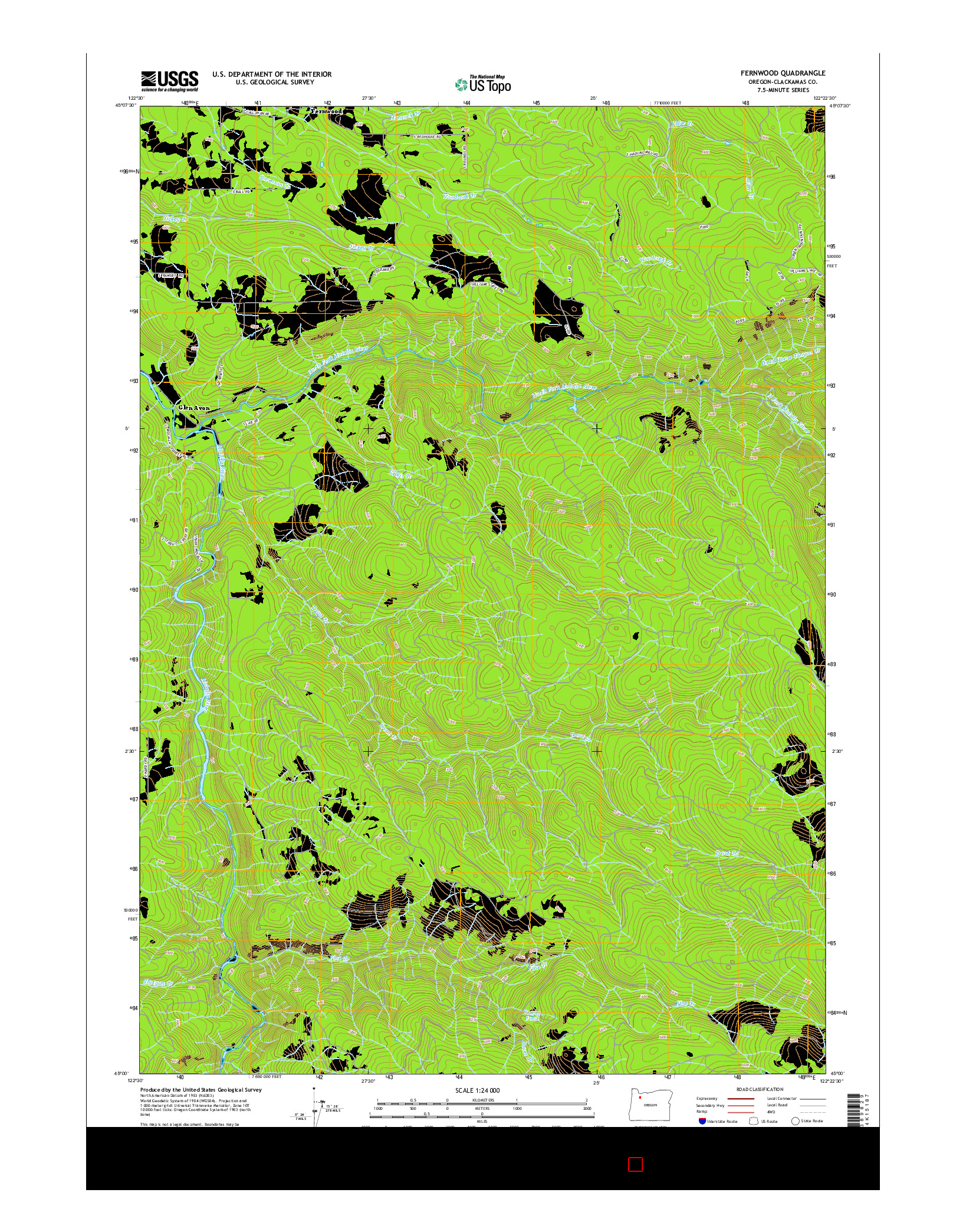 USGS US TOPO 7.5-MINUTE MAP FOR FERNWOOD, OR 2014