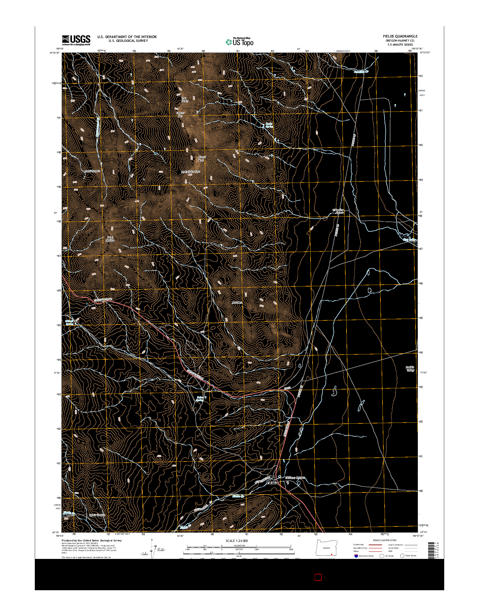 USGS US TOPO 7.5-MINUTE MAP FOR FIELDS, OR 2014