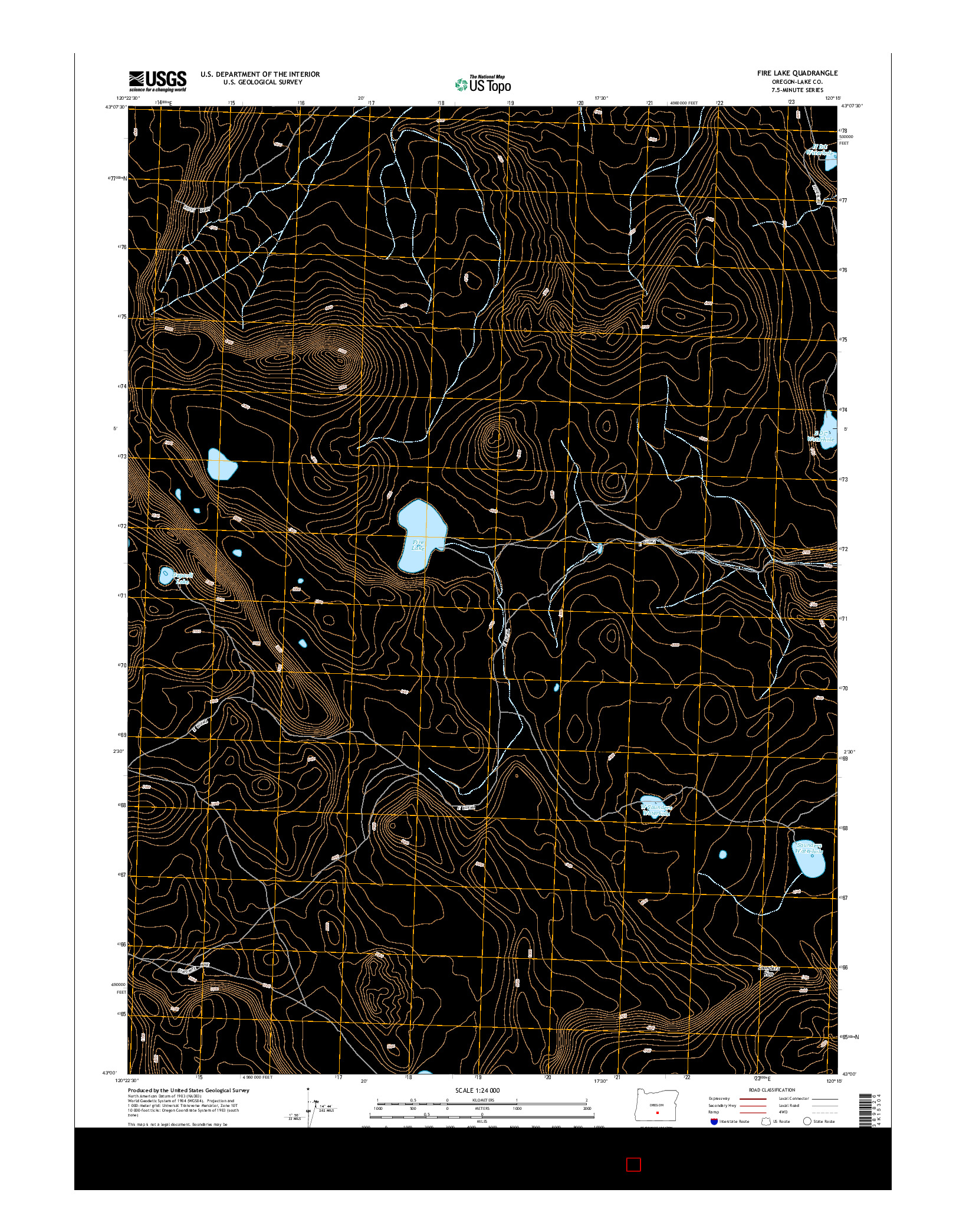 USGS US TOPO 7.5-MINUTE MAP FOR FIRE LAKE, OR 2014