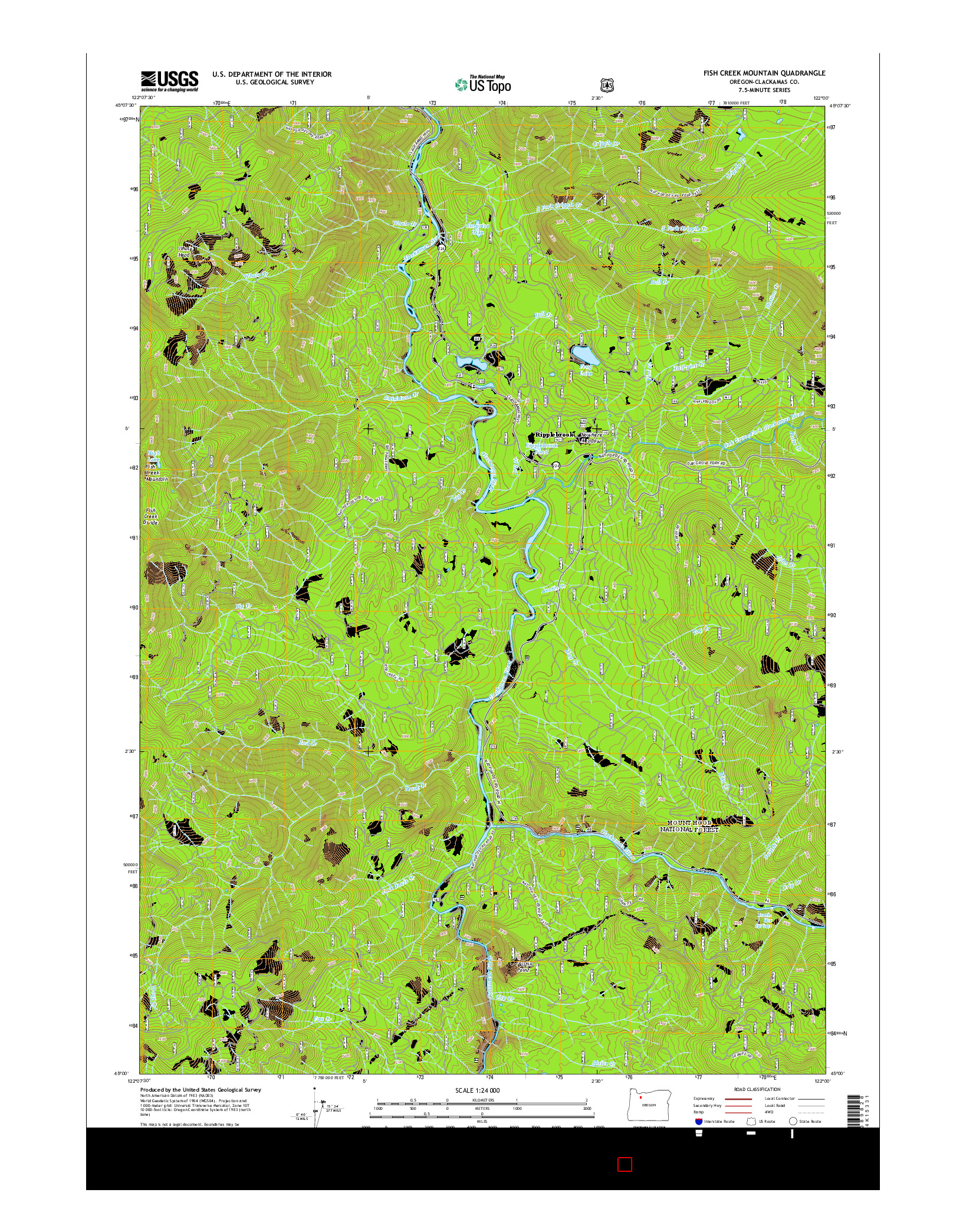 USGS US TOPO 7.5-MINUTE MAP FOR FISH CREEK MOUNTAIN, OR 2014