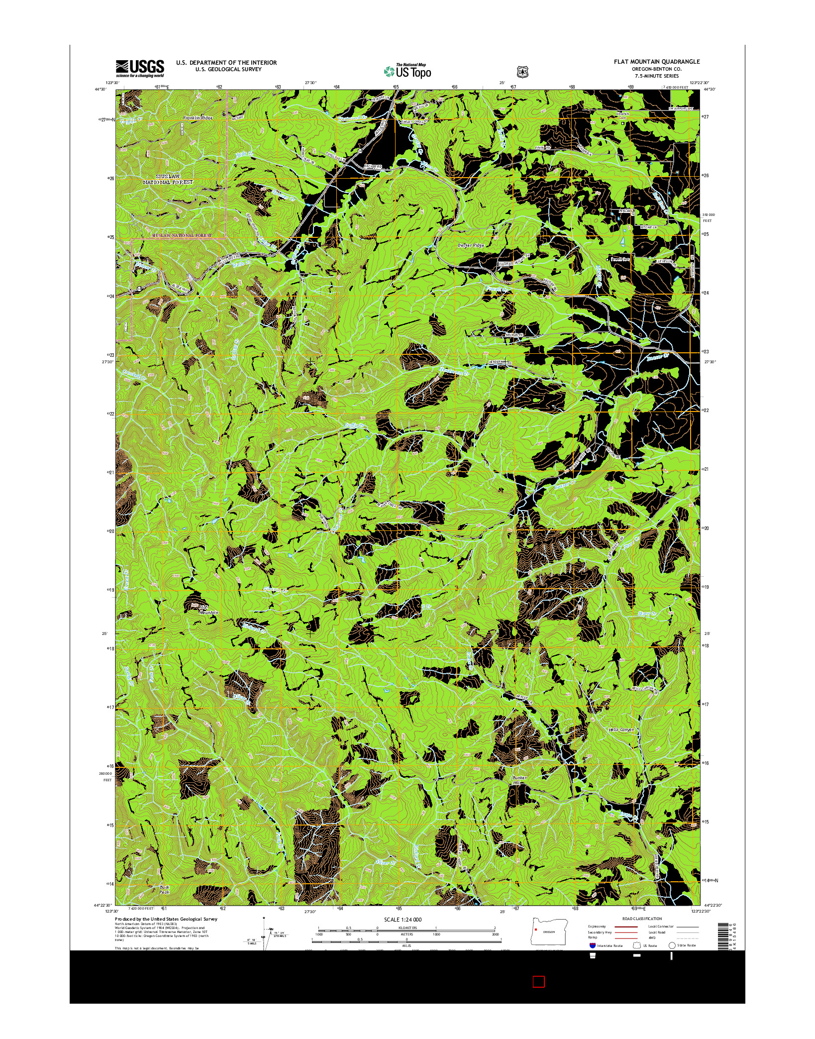 USGS US TOPO 7.5-MINUTE MAP FOR FLAT MOUNTAIN, OR 2014