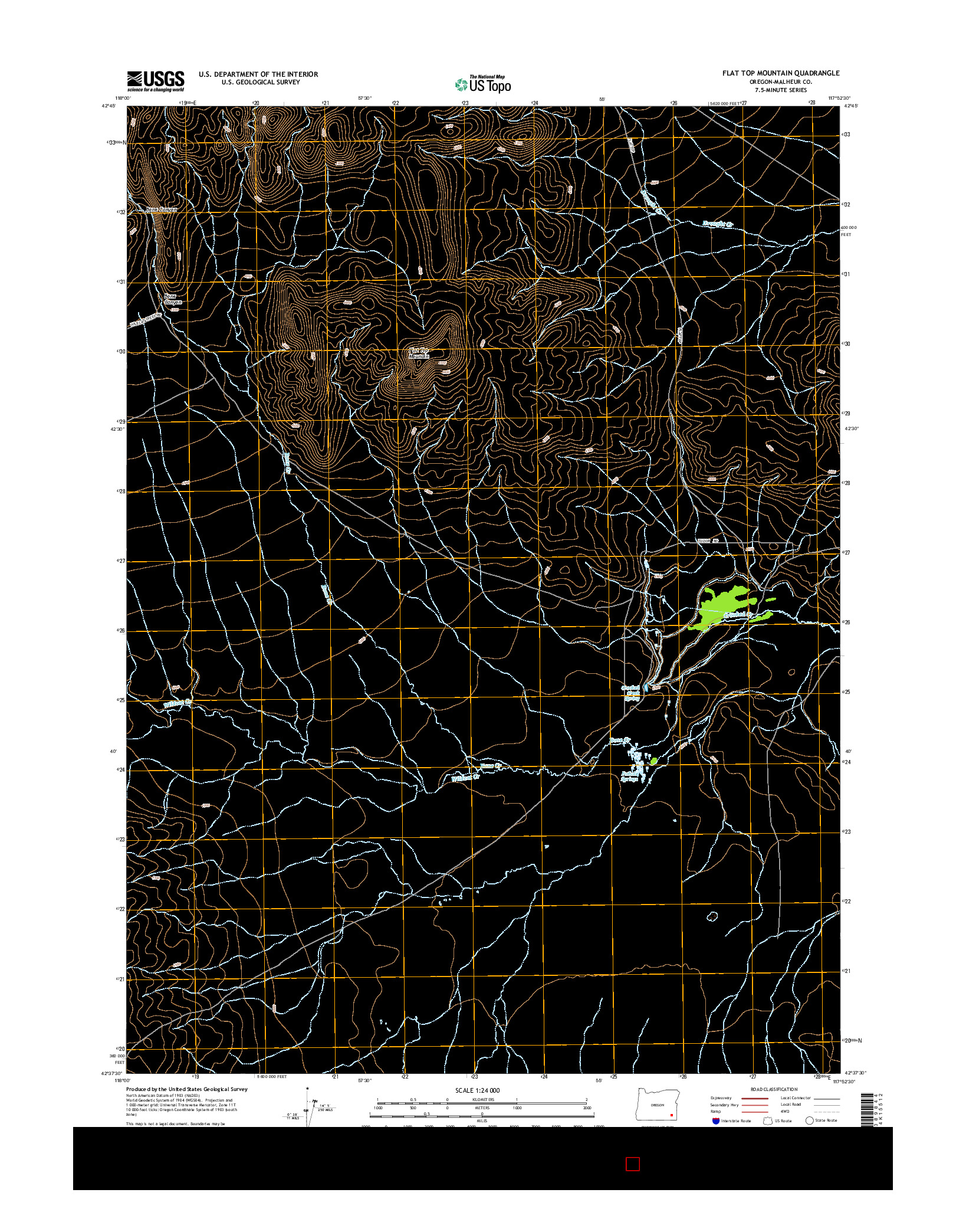 USGS US TOPO 7.5-MINUTE MAP FOR FLAT TOP MOUNTAIN, OR 2014