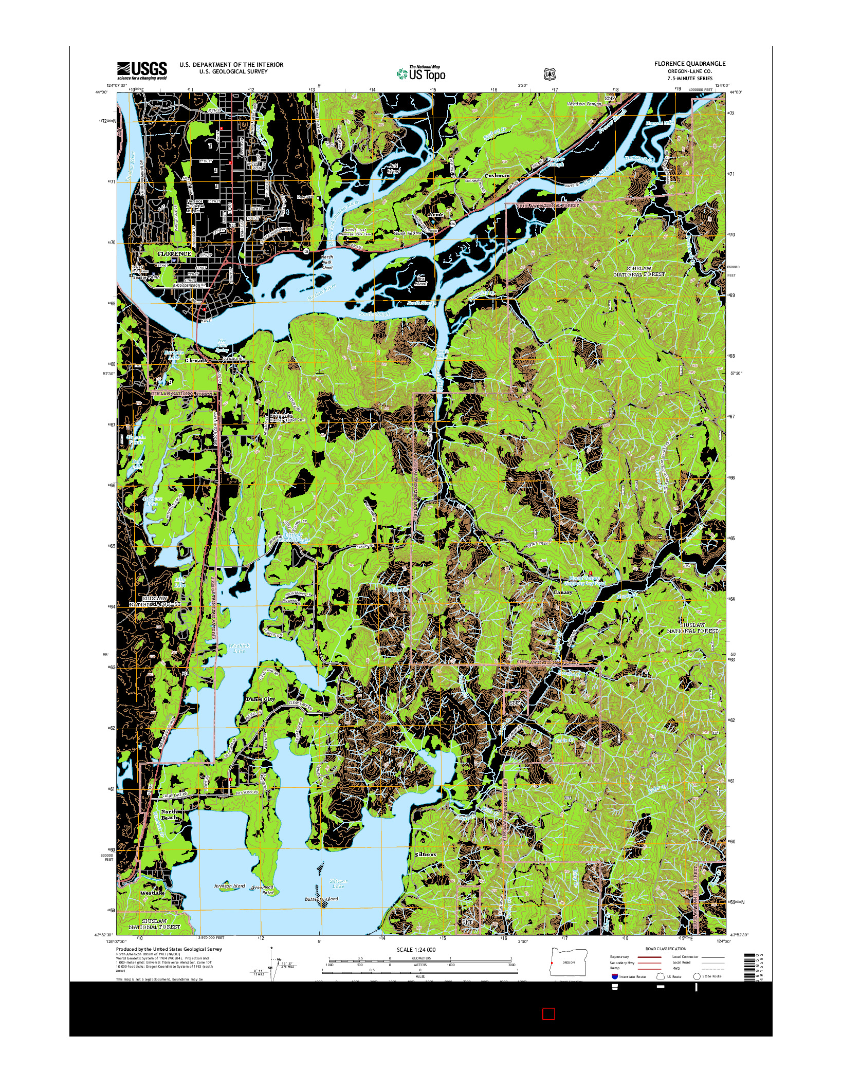 USGS US TOPO 7.5-MINUTE MAP FOR FLORENCE, OR 2014