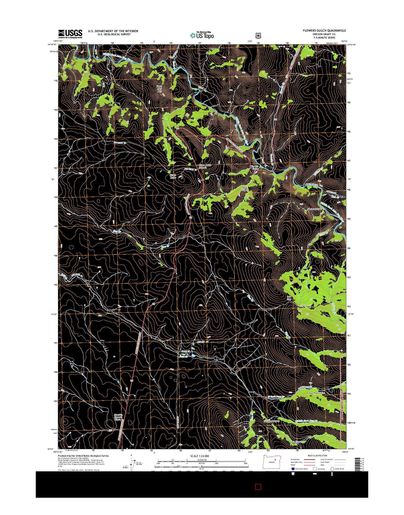 USGS US TOPO 7.5-MINUTE MAP FOR FLOWERS GULCH, OR 2014