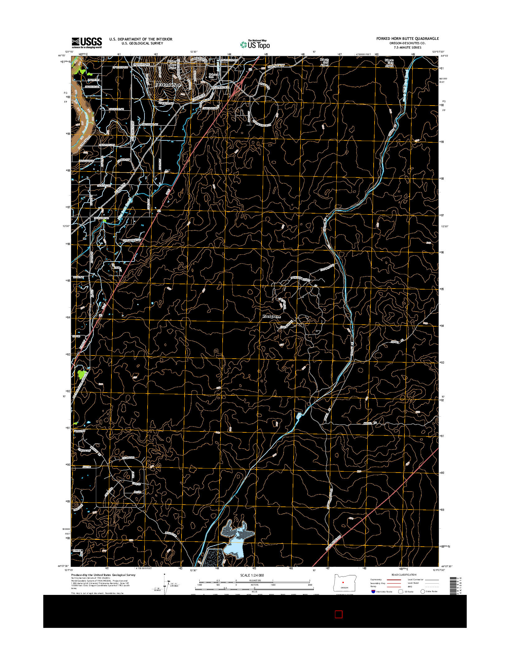 USGS US TOPO 7.5-MINUTE MAP FOR FORKED HORN BUTTE, OR 2014