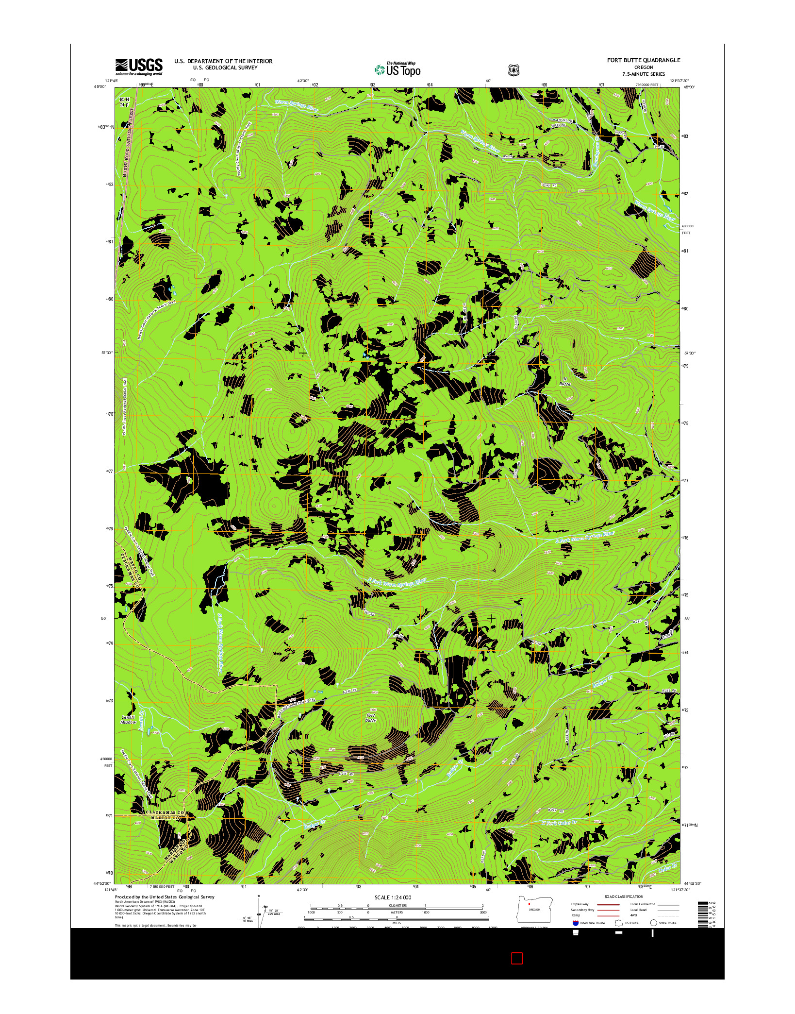 USGS US TOPO 7.5-MINUTE MAP FOR FORT BUTTE, OR 2014
