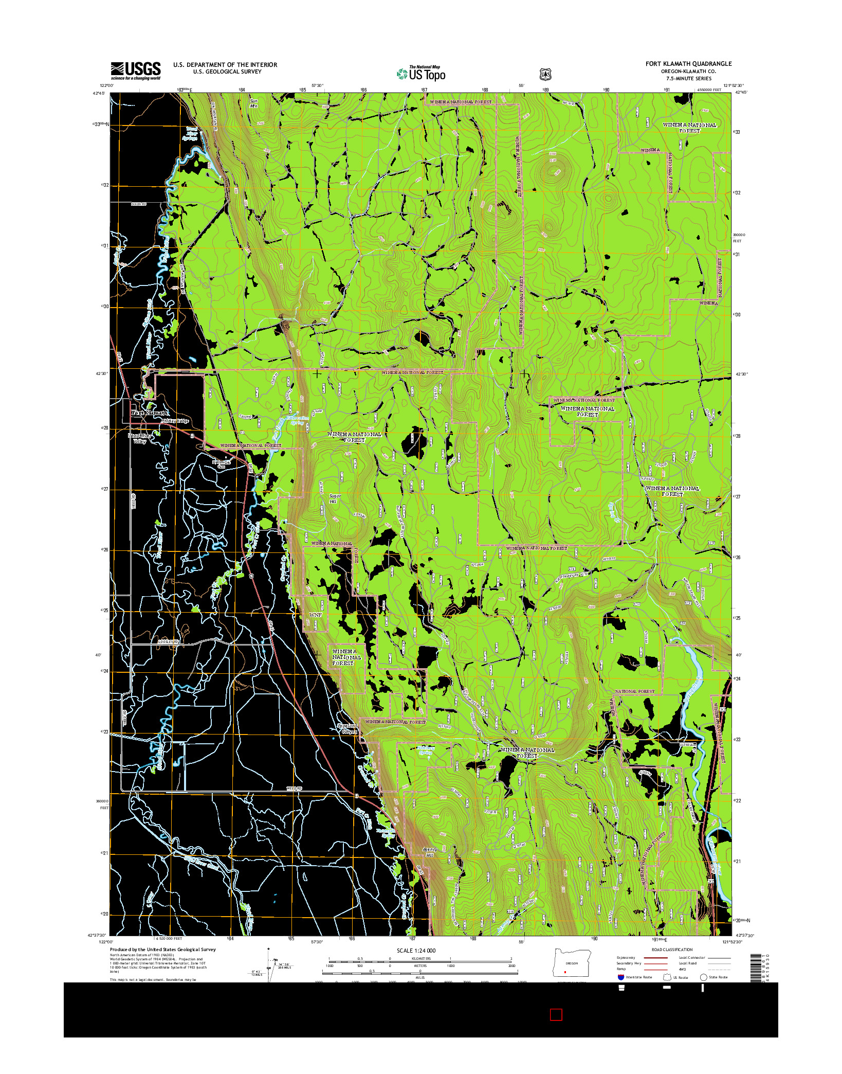 USGS US TOPO 7.5-MINUTE MAP FOR FORT KLAMATH, OR 2014