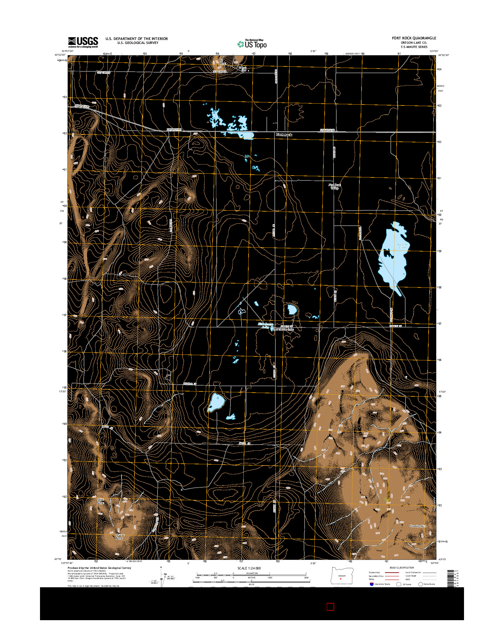 USGS US TOPO 7.5-MINUTE MAP FOR FORT ROCK, OR 2014