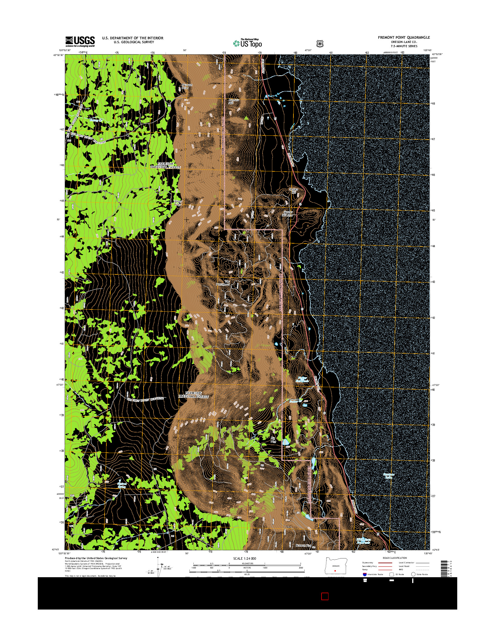 USGS US TOPO 7.5-MINUTE MAP FOR FREMONT POINT, OR 2014