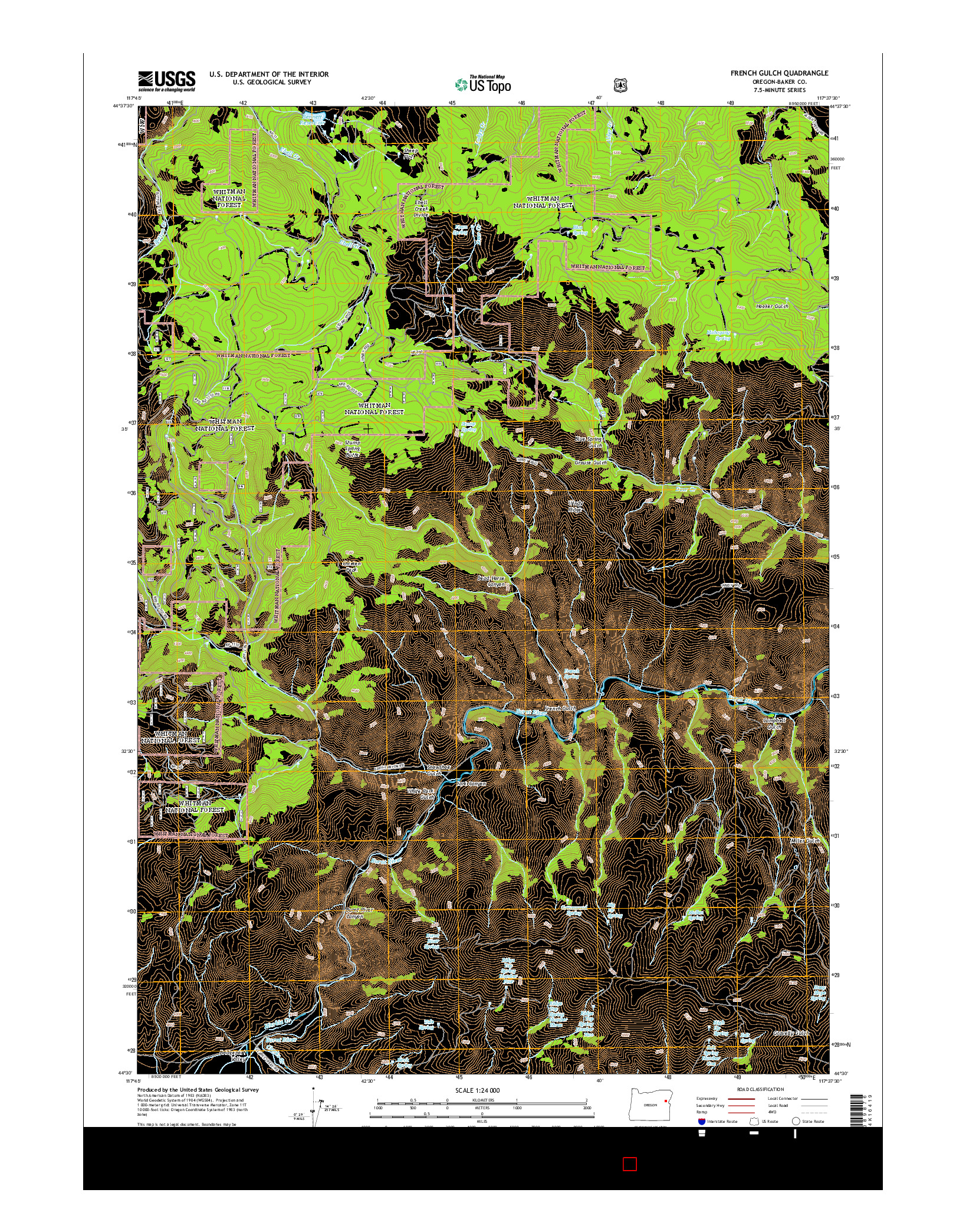 USGS US TOPO 7.5-MINUTE MAP FOR FRENCH GULCH, OR 2014