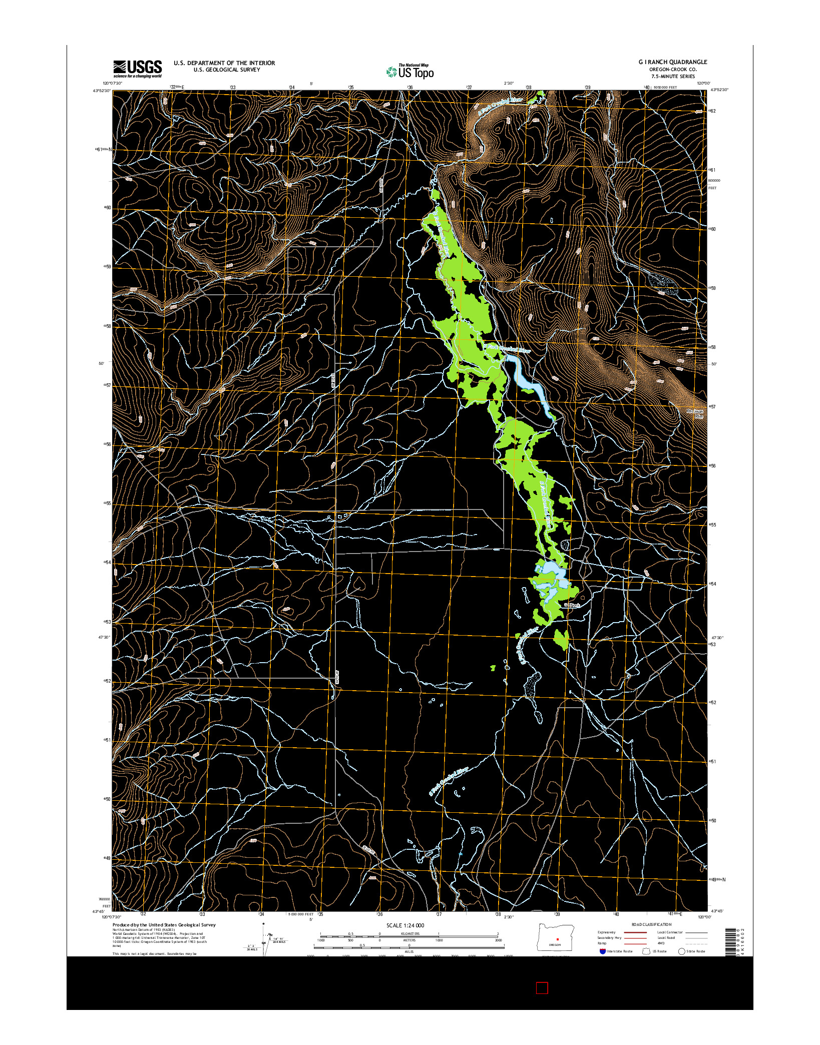 USGS US TOPO 7.5-MINUTE MAP FOR G I RANCH, OR 2014