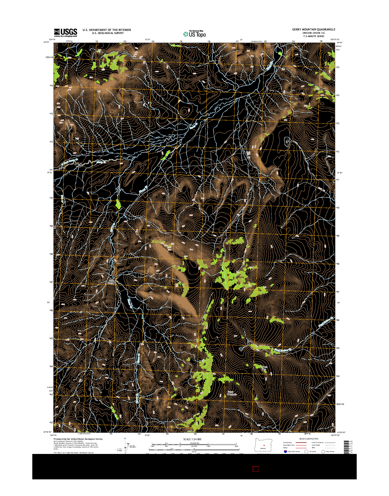 USGS US TOPO 7.5-MINUTE MAP FOR GERRY MOUNTAIN, OR 2014
