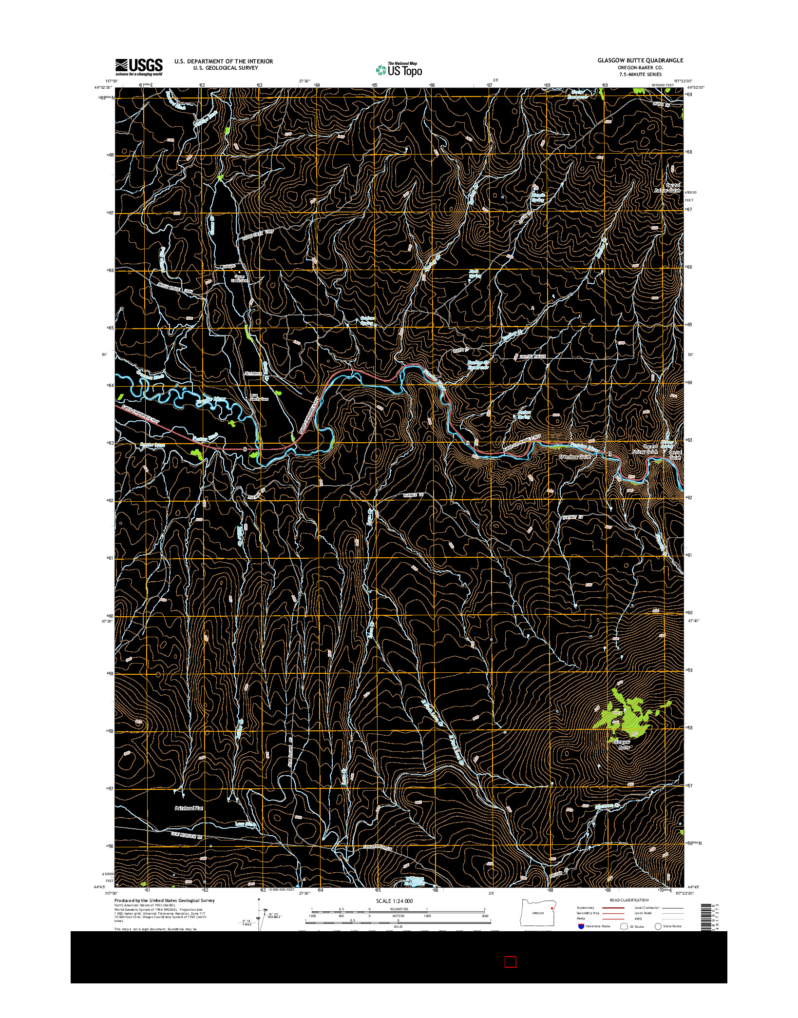 USGS US TOPO 7.5-MINUTE MAP FOR GLASGOW BUTTE, OR 2014