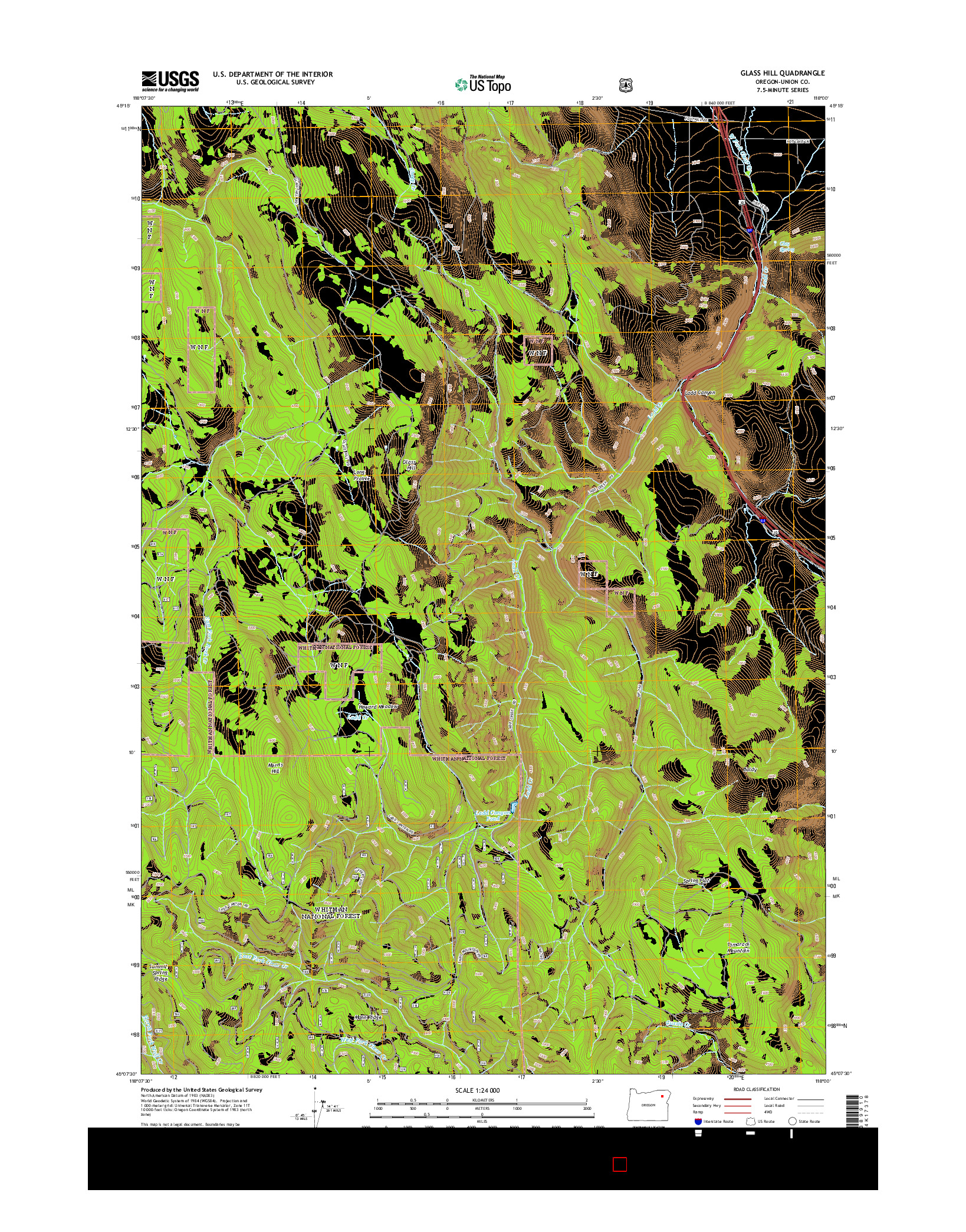 USGS US TOPO 7.5-MINUTE MAP FOR GLASS HILL, OR 2014