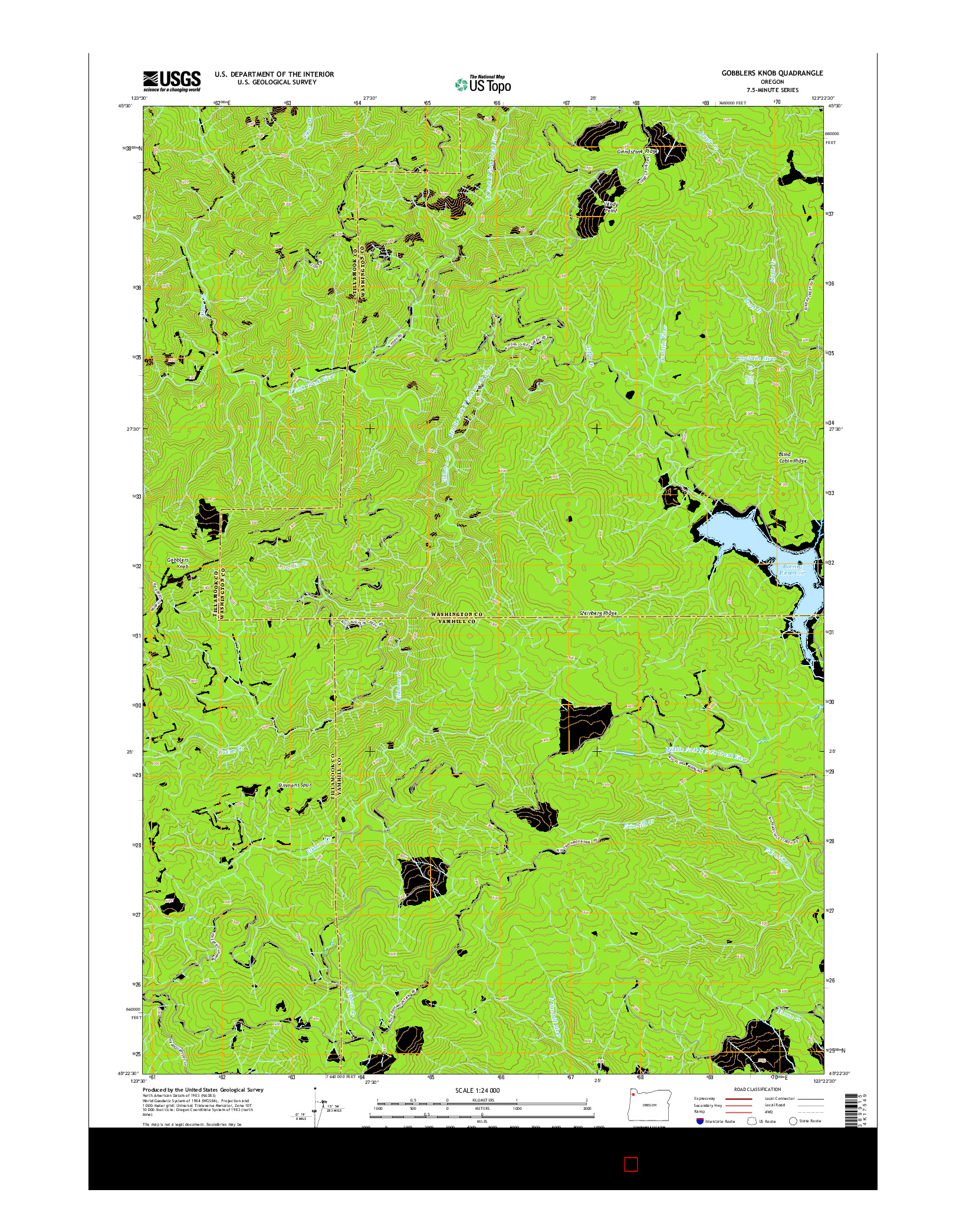 USGS US TOPO 7.5-MINUTE MAP FOR GOBBLERS KNOB, OR 2014