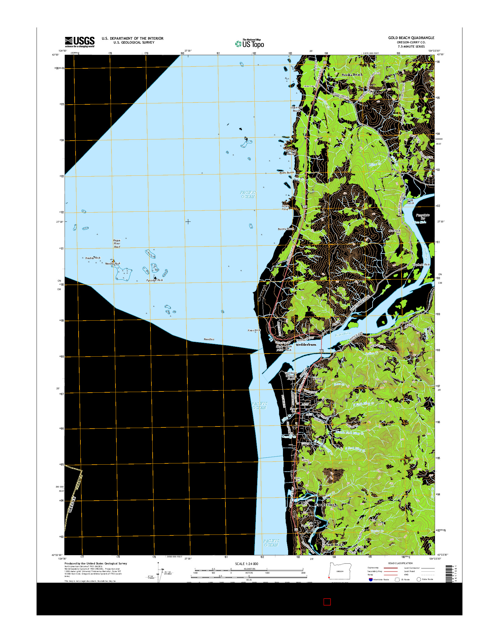 USGS US TOPO 7.5-MINUTE MAP FOR GOLD BEACH, OR 2014
