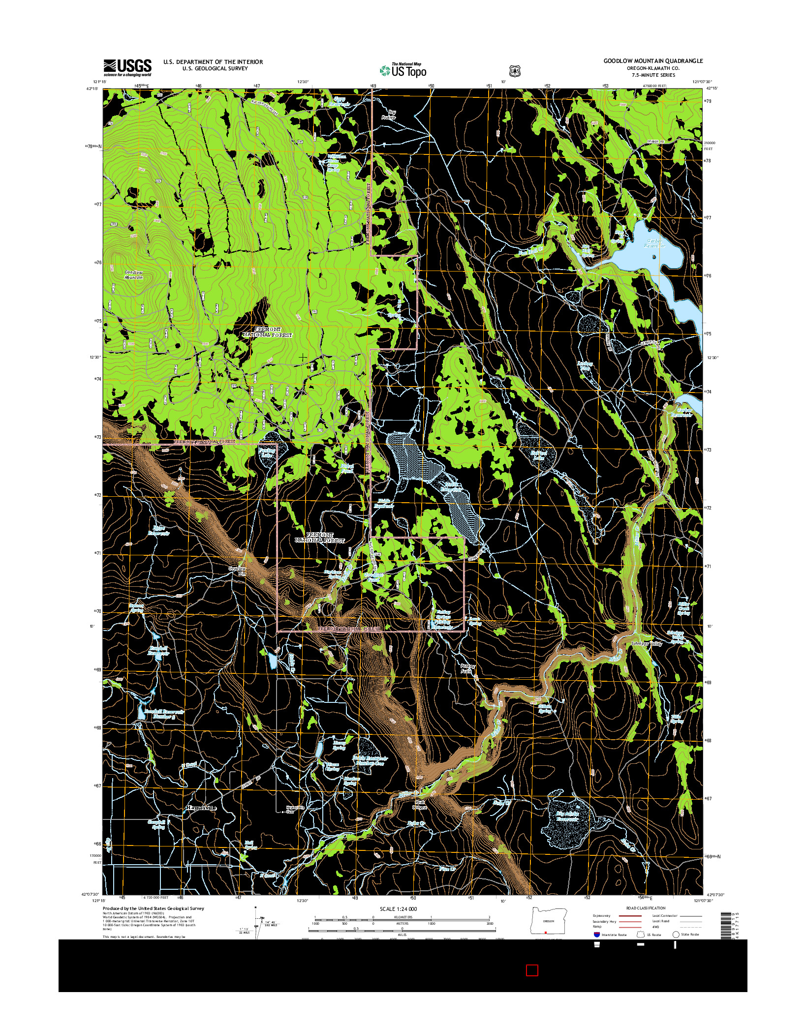 USGS US TOPO 7.5-MINUTE MAP FOR GOODLOW MOUNTAIN, OR 2014