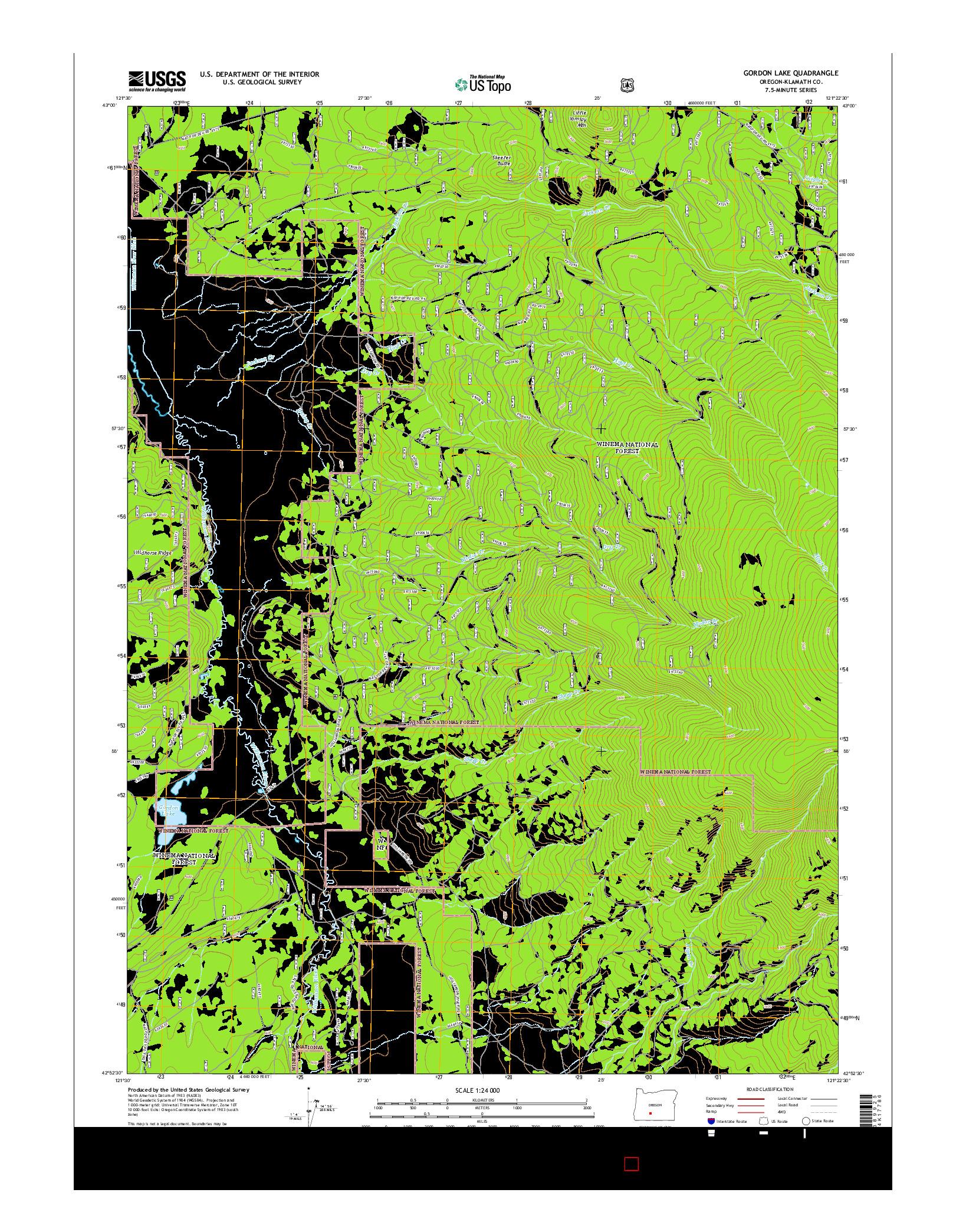 USGS US TOPO 7.5-MINUTE MAP FOR GORDON LAKE, OR 2014