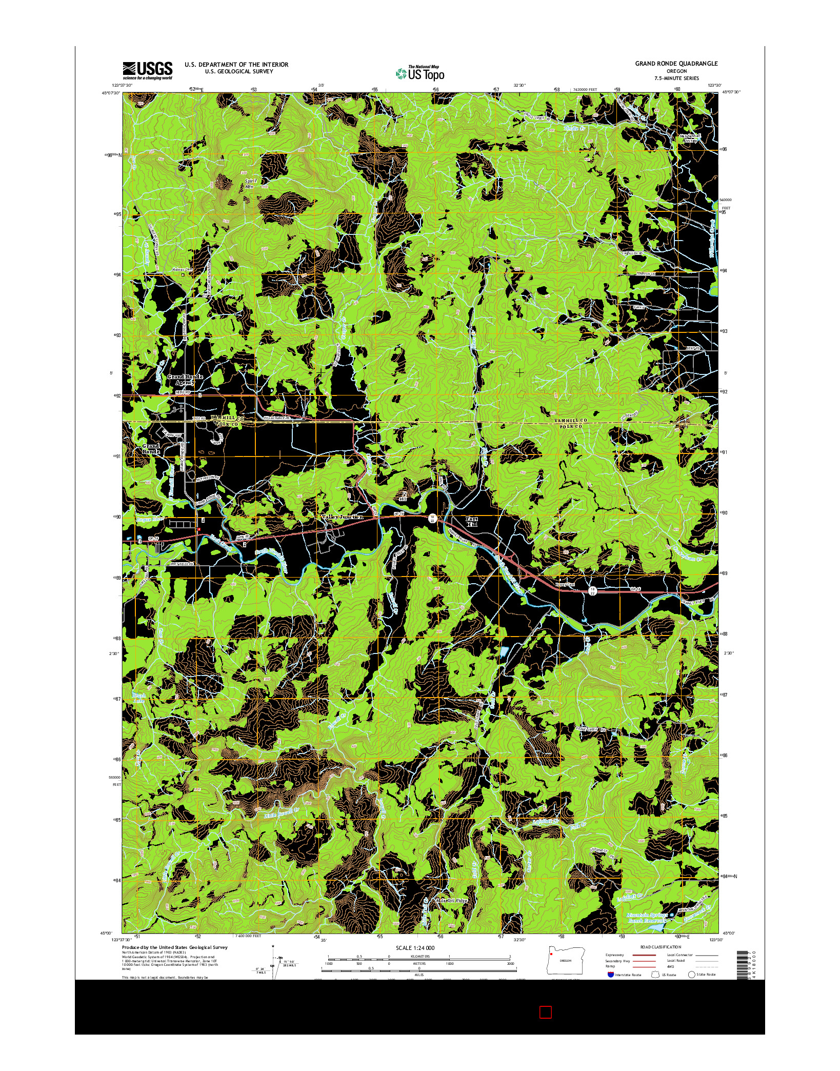 USGS US TOPO 7.5-MINUTE MAP FOR GRAND RONDE, OR 2014