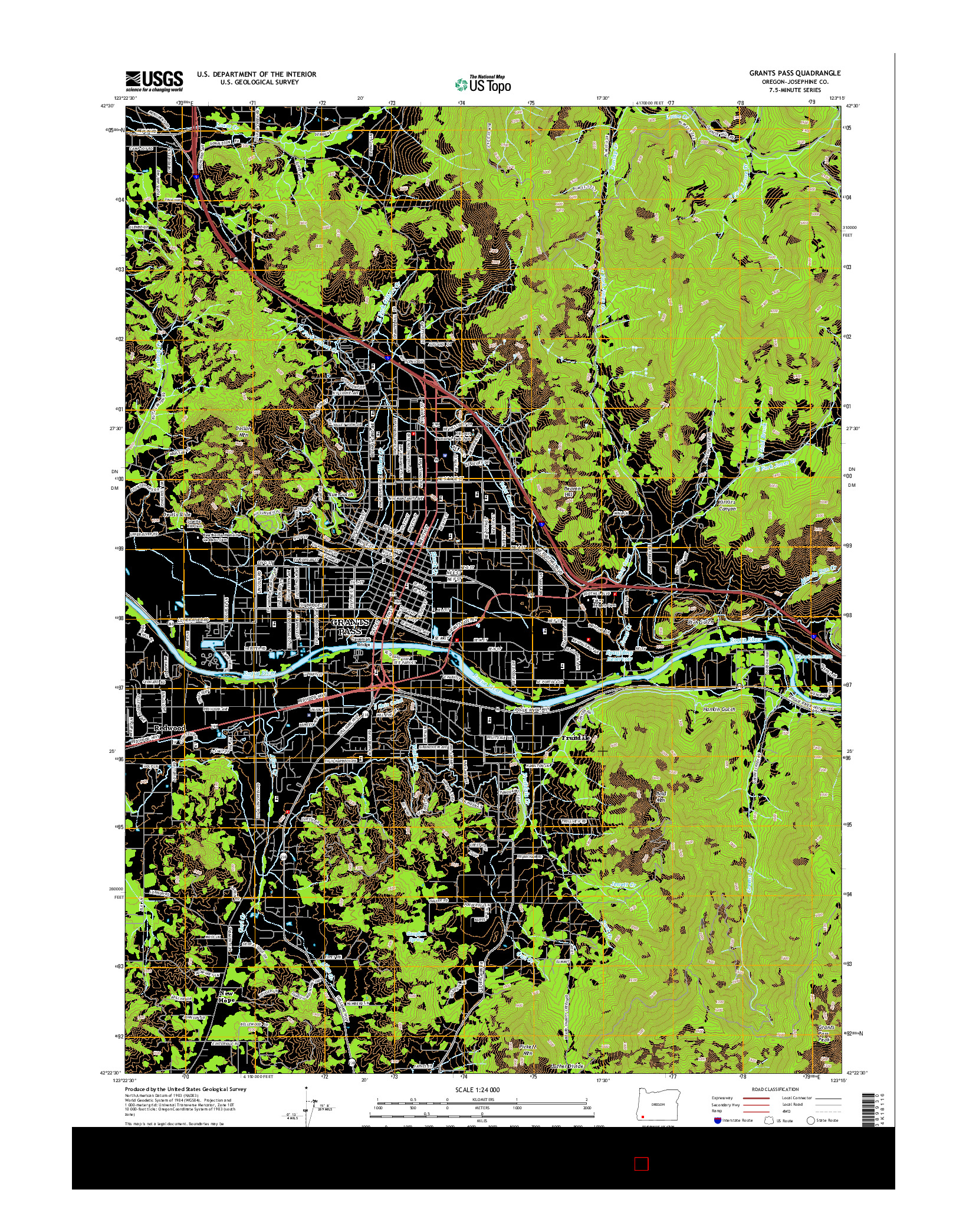 USGS US TOPO 7.5-MINUTE MAP FOR GRANTS PASS, OR 2014