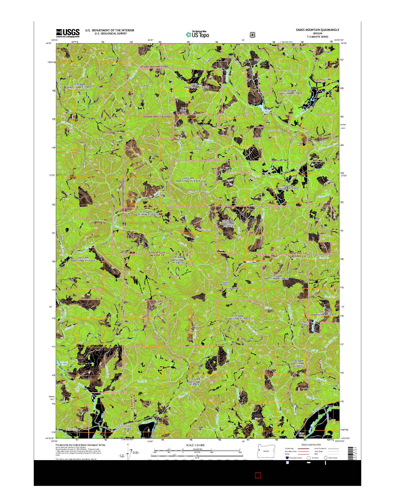 USGS US TOPO 7.5-MINUTE MAP FOR GRASS MOUNTAIN, OR 2014