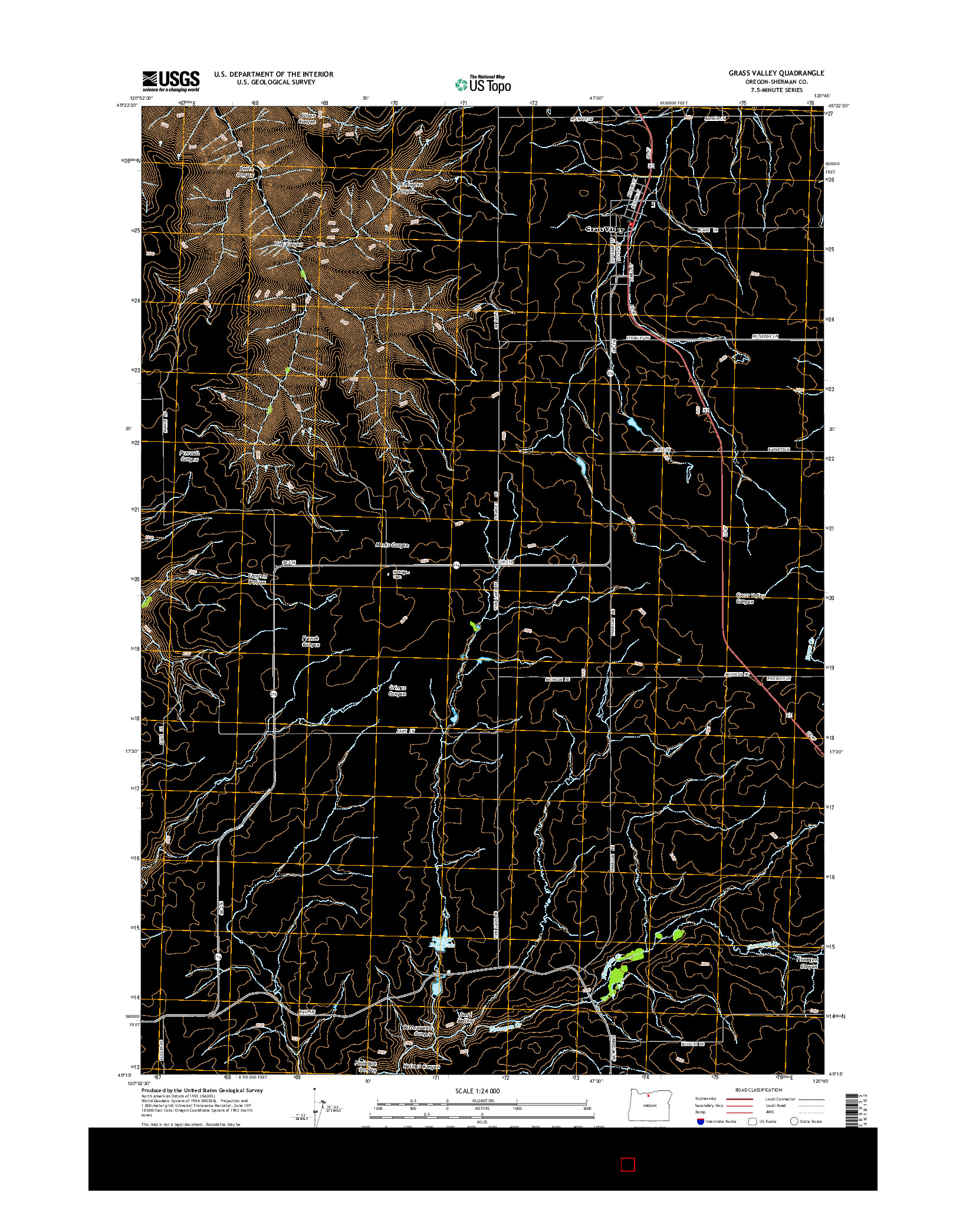 USGS US TOPO 7.5-MINUTE MAP FOR GRASS VALLEY, OR 2014