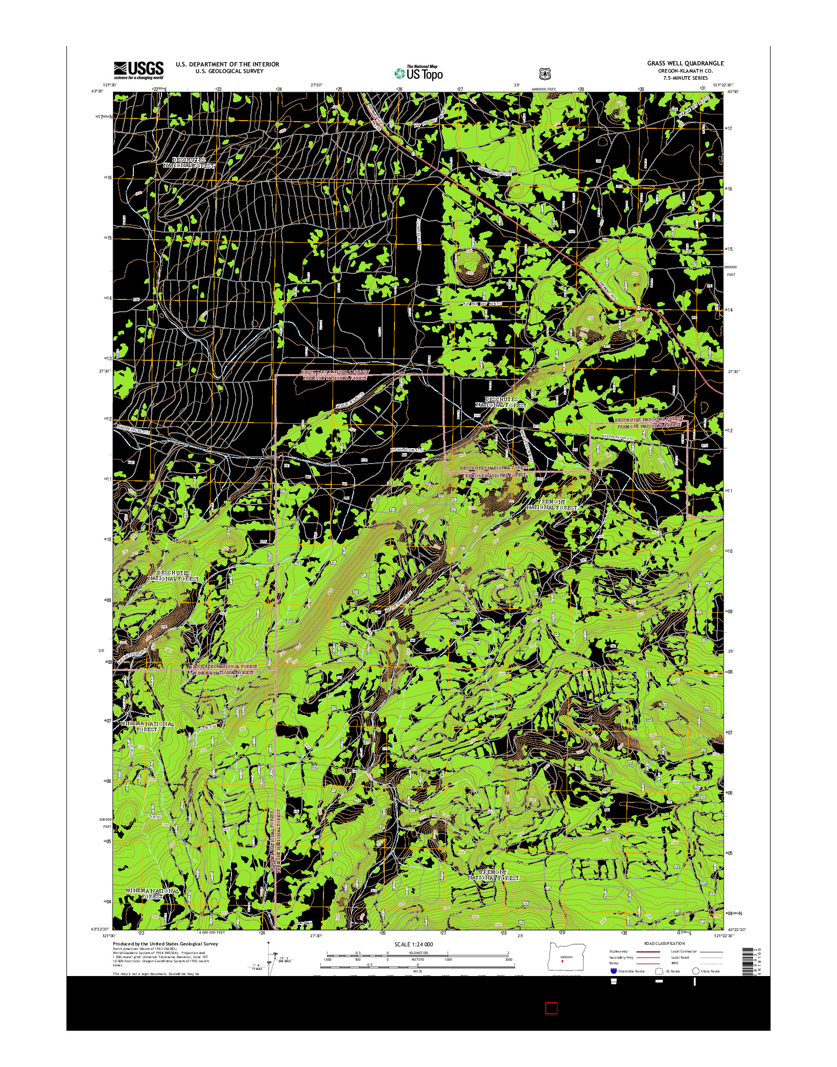 USGS US TOPO 7.5-MINUTE MAP FOR GRASS WELL, OR 2014