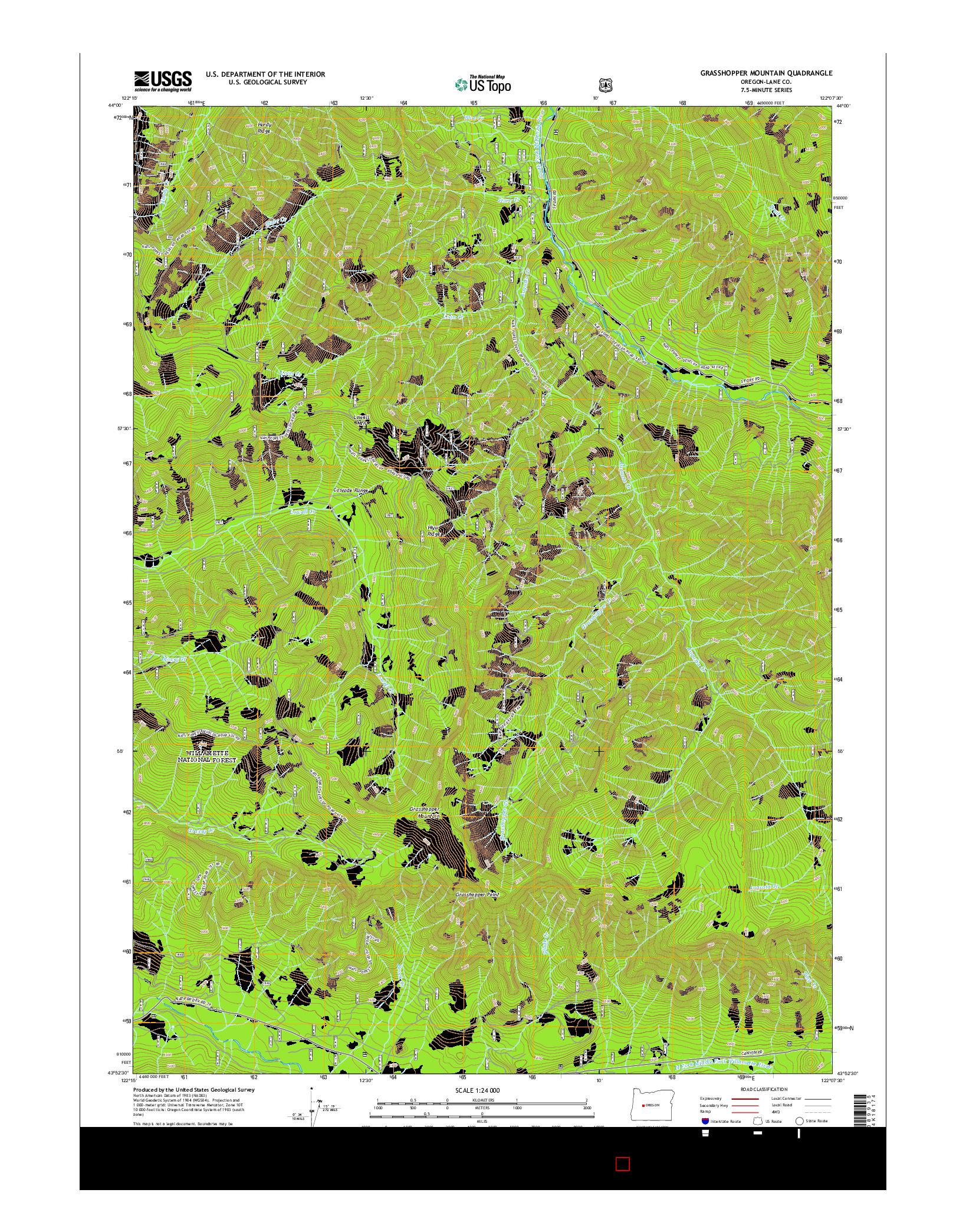 USGS US TOPO 7.5-MINUTE MAP FOR GRASSHOPPER MOUNTAIN, OR 2014