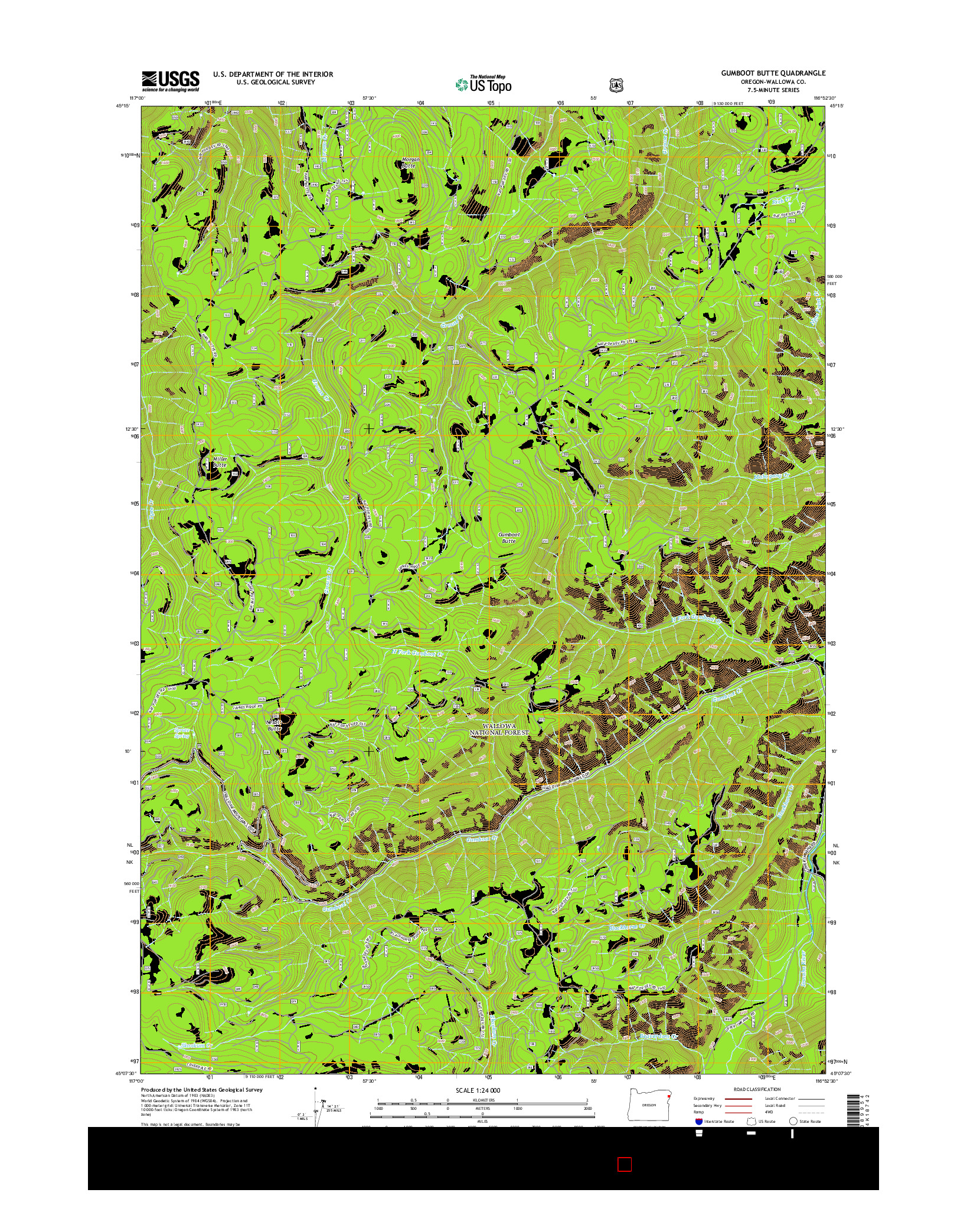 USGS US TOPO 7.5-MINUTE MAP FOR GUMBOOT BUTTE, OR 2014